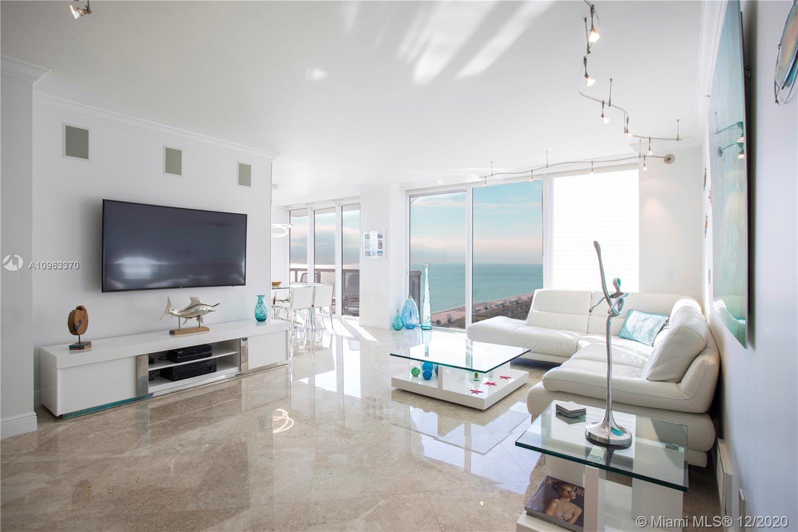 Ultra-elegant 3 bedroom, 3 bath residence corner unit with panoramic ocean views at the Green Diamond Condo, which offers exceptional amenities at one of the most sought-after locations in Miami Beach. Stylish and spacious, some of the highlights include floor-to-ceiling windows, marble flooring, custom wall mirrors, double door entry and 2 large terraces, perfect for enjoying gorgeous sunrises. The principal suite includes a large bathroom and a spacious custom-built, walk-in closet. The unit comes with 2 assigned parking spaces & 2 storage rooms. Set oceanfront with easy access to Miami International Airport and major neighborhoods such as Downtown Miami, Bal Harbour, South Beach, Design District and Wynwood.