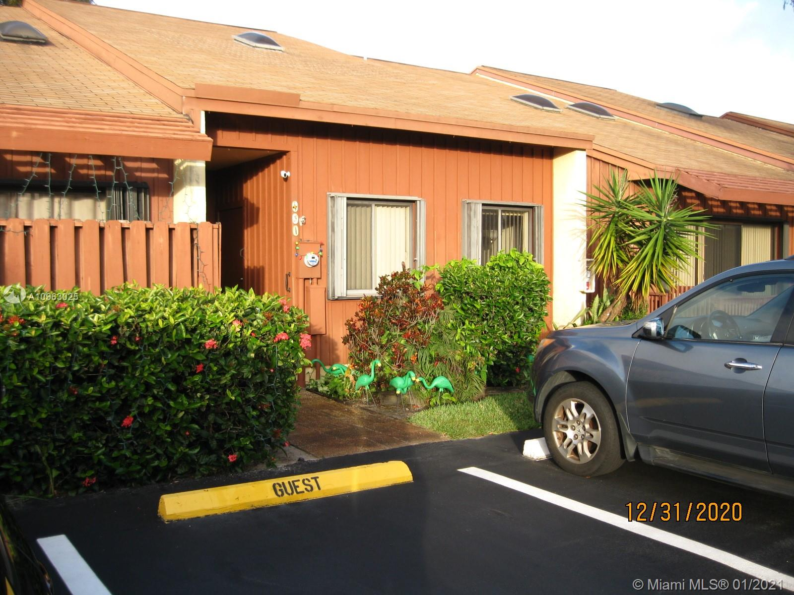 Very sought after Sandpiper Woods Townhouse being offered AS-IS. This unit is a 2 bedroom 2 full bath with vaulted ceilings, Hurricane shutters throughout. Parking right in front of unit with guest spots. Outside storage unit at front entrance. Walking distance to shopping centers and Memorial Regional walk in clinic as well as Outdoor fitness station. One mile to beach, 10 minutes to Ft Lauderdale Airport and most major attractions. Very quiet neighborhood and low maintenance fee. Beautiful pool and surroundings.