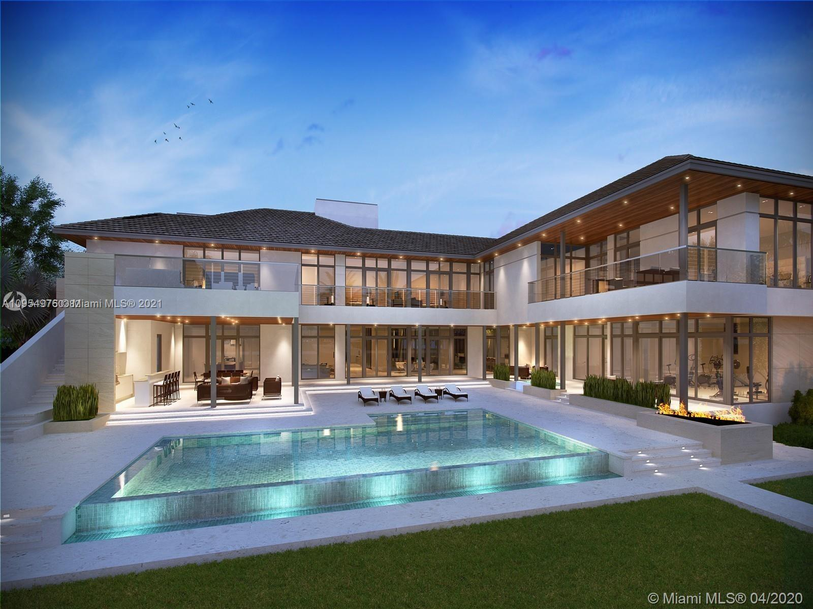 This captivating, modern custom estate is being completed by Mocca Construction in the exclusive Gables Estates Community. Open layout with privacy in mind, residence designed by Ramon Pacheco checks off every box. Features 9 beds, 11 baths and 2 half baths for a grandly scaled 20,726 SF of unrivaled living. Poured concrete walls and roof, this residence is a must see to appreciate the quality of construction and design. Oversized bedrooms, 2 bedroom staff quarters, library/office, spa/yoga/fitness studio, elevator, glass wine cellar and so much more fill this incomparable home. 220 FT of water frontage with a brand new 140 ft dock add to the list of luxuries to this sophisticated and unique opportunity. Expected completion Summer 2021.