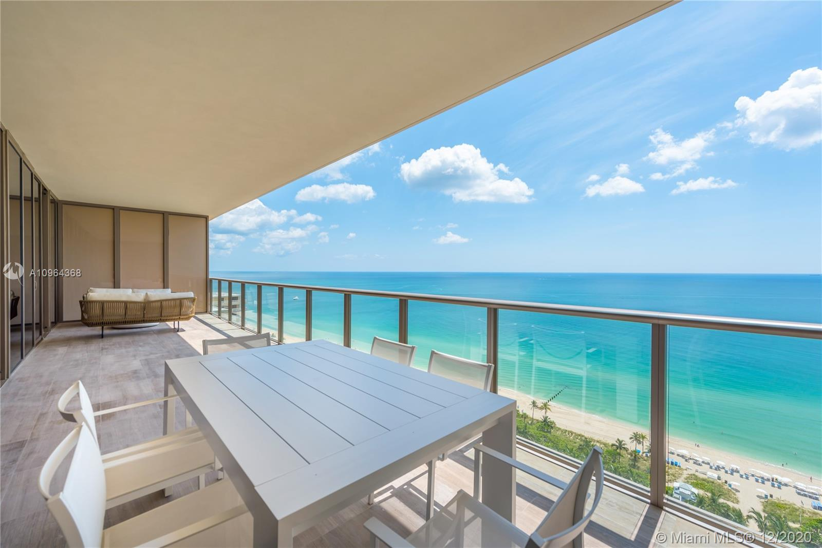 Brand new build out of the highly sought Mayfair model at the world renowned St. Regis Bal Harbour Resort & Residences. A spacious sky home centered around a generous oceanfront great room with gourmet kitchen – double ovens, wine cooler, warming drawers, natural stone island and chef's table – separate den (4th bedroom), and seaside lanai. The formal plan features the master and guest bedrooms separated from the entertaining areas and located on the bay side of the residence along with a private family room. All rooms open onto the sunset veranda – offering true outdoor living with endless views of the Miami skyline and Biscayne Bay. Located directly across Collins Avenue from the Bal Harbour Shops and 1 block from the restaurants and shops of Surfside.
