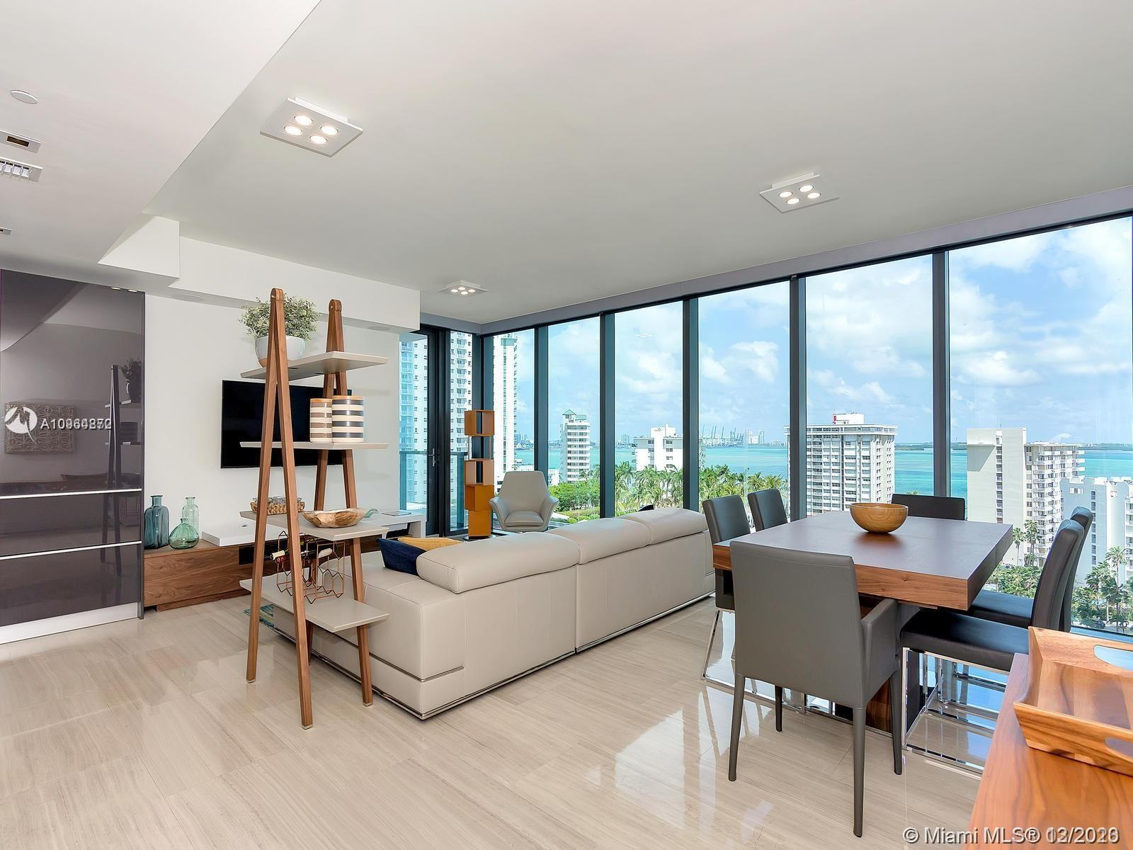"Brand new unit at Echo Brickell, fully furnished and professionally decorated. Corner 2/2.5 unit with marble throughout, 10"" hight with floor to celling windows. Apple home technology, wall mounted Ipad with controls to audio, lightning, wall treatments and wallet parking. Very easy to show, just call or text the listing agent."
