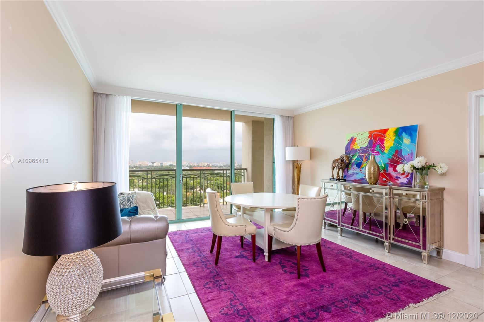 This magnificent one bedroom residence is the setting for Coconut Grove's most extraordinary lifestyle & sophisticated array of amenities. Spacious layout, splendid finishes, oversized master bath with jacuzzi & separate glass enclosed shower. 12th floor is the absolute perfect height in the building with a straight on view of Coconut Grove & downtown Coral Gables. High walkability factor