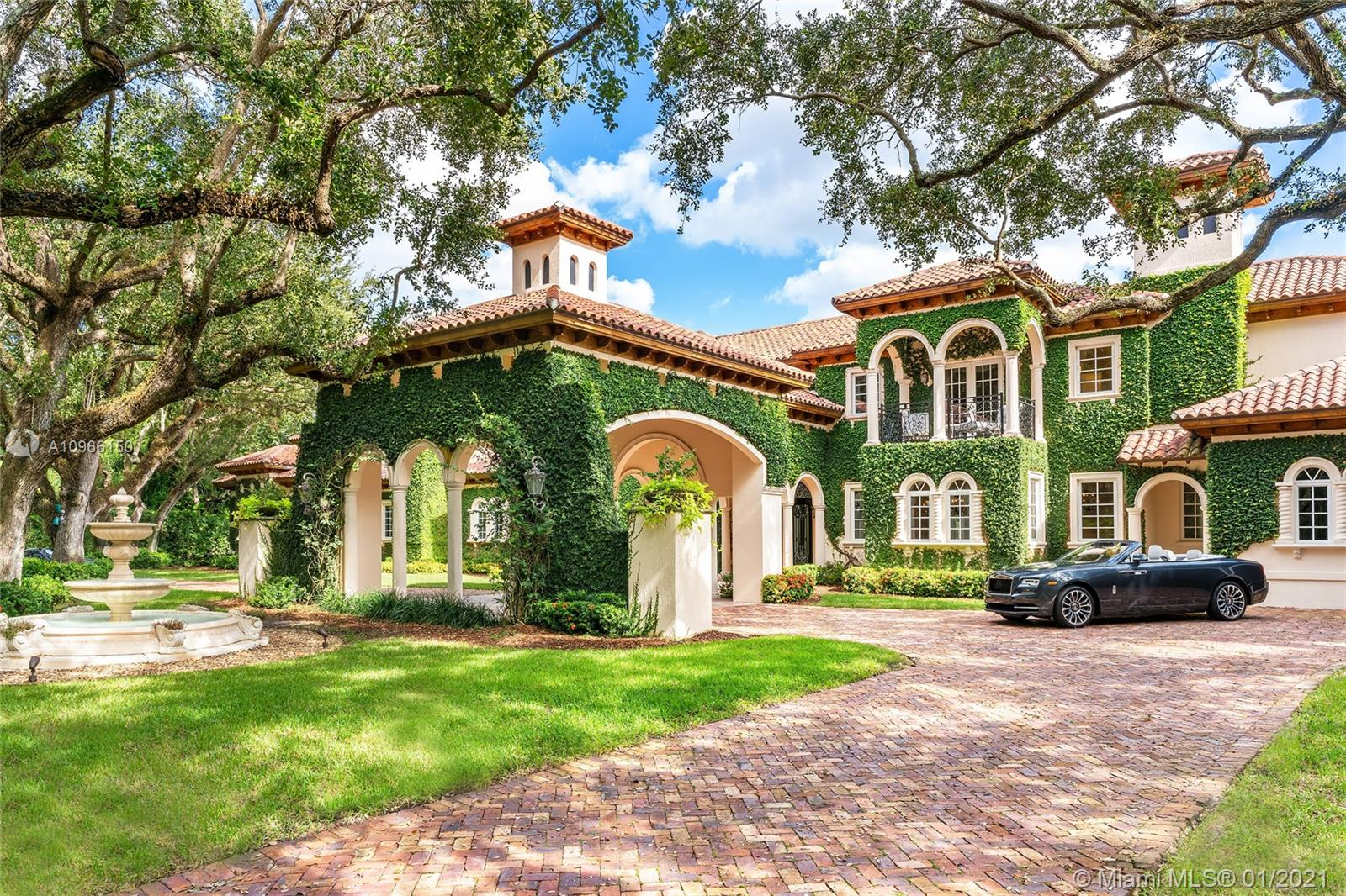 "This Mediterranean inspired masterpiece of elegance & style in Coral Gables is known as ""Casa Arboles"" sits on a manicured 2.87-acre lot w/an amazing canopy of 88 mature oak trees. The two-story gated estate is a private compound ideal for an extended family, accommodating for live in staff & was meticulously remodeled in 2020. Features expansive living, dining & family areas, marble floors, gourmet kitchen, a library, elevator, 2 offices, gym, movie theater, & 2 private guest suites. The large principal suite sports a sitting room, 2 balconies & stunning dual bathrooms and voluminous walk-in closets. The outdoor resort-style areas made to entertain with a fountain, new limestone pool deck, covered seating areas, salt water pool w/hot tub, full lighted tennis & basketball court."