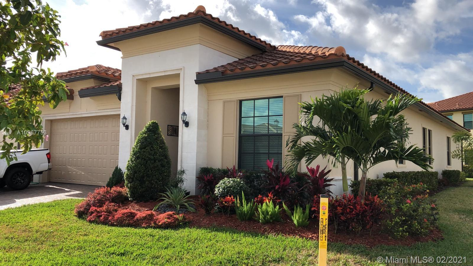 This 2019 3 Beds (plus Den) 2.5 Baths is located at a gated community on an oversized corner lot. This Parkland Bay home features a wide open floor plan, tray ceilings, lots of natural light, gorgeous kitchen with quartz countertop, marble backsplash, island, SS appliances, gas stove, double oven and microwave. Beautiful 24x24 light tile floor, impact windows. Laundry room with wall cabinets and a sink. Master bed with spacious walk in closet, master bath with a shower and a separate bathtub, double sink with quartz countertop. As a resident, you can enjoy upscale luxury living, it features aerobics studio, state of the art fitness center, resort-style swimming pool with beach entry, tennis courts and much more!