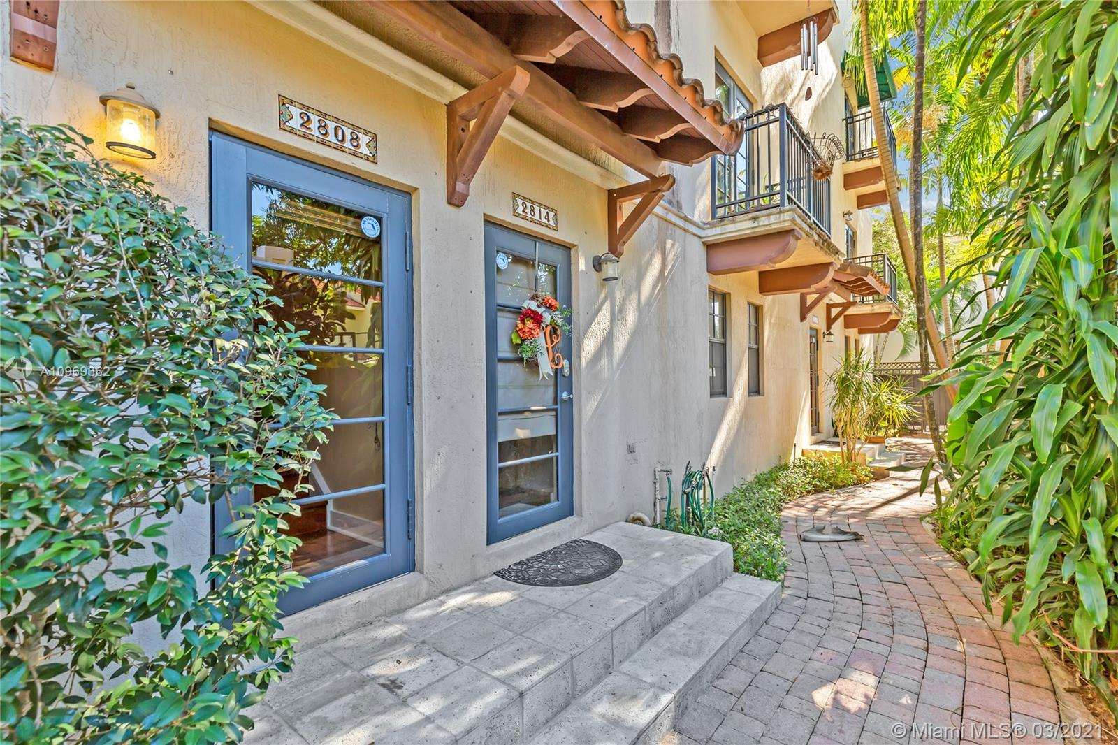 Gorgeous Tri-level townhome in a gated complex just minutes away from Berries, CocoWalk, Bayfront Parks and Marina. Amenities include a community outdoor area with BBQ and a dipping pool. Open kitchen with breakfast bar and beautiful granite countertops are a great contrast to the wood cabinetry and stainless steel appliances. French doors lead you to the balcony with a view of the beautiful greenery this complex has to offer. Newly redone wood floors. Very bright and airy with all the modern features you expect. Comfortable 2 car garage that is completely built out and offers a bonus room/office. Great for people that work from home. This is a Beautiful Miami Home!