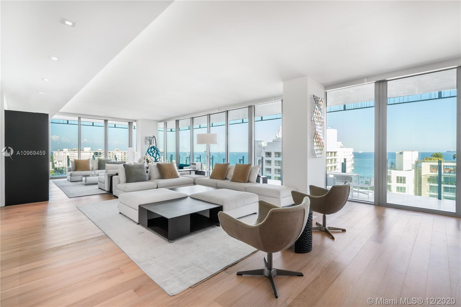 Take in sweeping ocean, South Beach, & Miami City skyline views from luxurious full-floor residence inside South of Fifths most significant new development, Glass! Designed by Architect Rene Gonzalez, you'll enjoy seamless interior + exterior living, a wraparound balcony in Fritted Glass, a Calcutta marble kitchen integrated w/ Subzero + Gaggenau appliances, interior wood floors, travertine stone exteriors, & more! This 10th-floor residence is finished & furnished w/ custom-designed furniture by Paola Lenti & Minotti. Experience elegance & exclusivity in this chic, modern building that epitomizes the South of Fifth neighborhood & the beach's urban vibe. Deluxe amenities include full-level pool, spa, bbq area, pool service, beach club, state-of-the-art gym, 24-hr security, & valet service.
