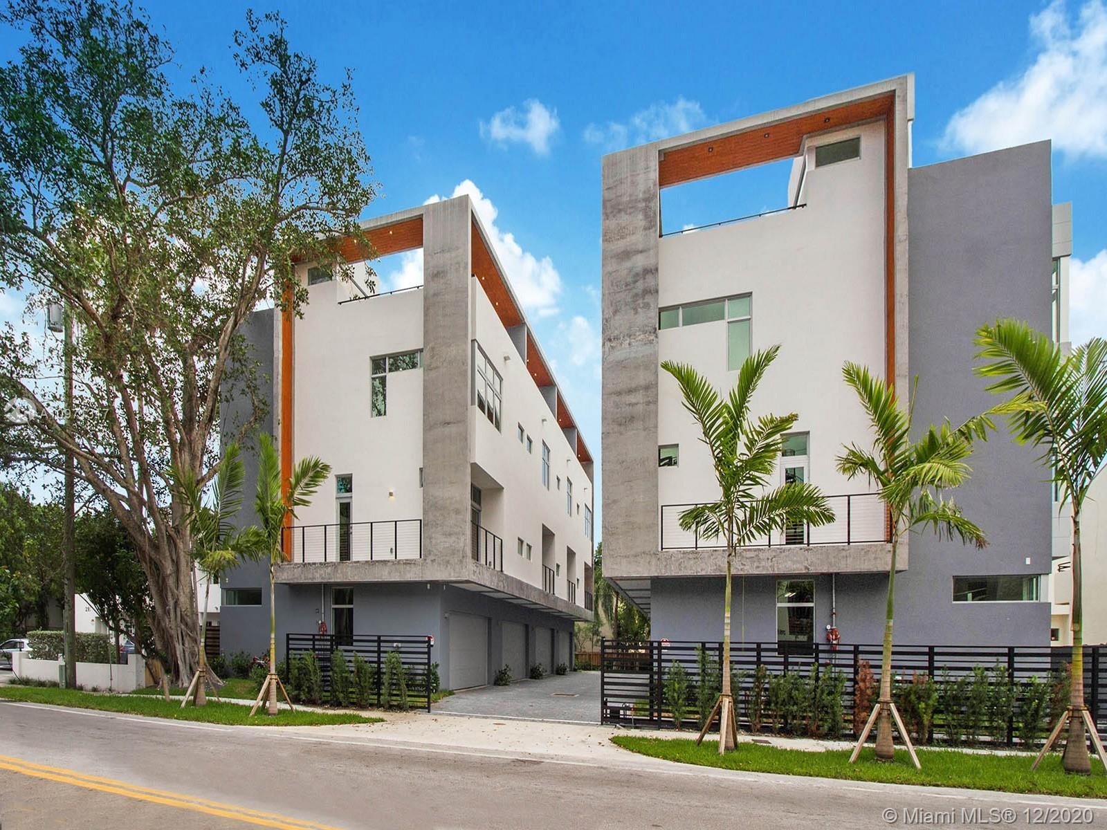 Brand new construction now ready for immediate occupancy in the heart of Coconut Grove. This 3-bedroom, 3 full bathroom townhome is complete with all impact glass and a 2-car garage. HABITAT AT THE GROVE is a brand-new boutique community with 8 hip urban townhouses. Two different floor plan options all with Bosch appliances and custom modern finishes. All impact glass windows and doors.  Large private outdoor roof terrace with options for a summer kitchen and jacuzzi.  Best walkability to newly redesigned Coco Walk, cafes, restaurants, offices, and parks in Coconut Grove. Centrally located to Miami International Airport, Coral Gables and Downtown Miami.  A must consider if you are looking for move in ready in adored 33133.