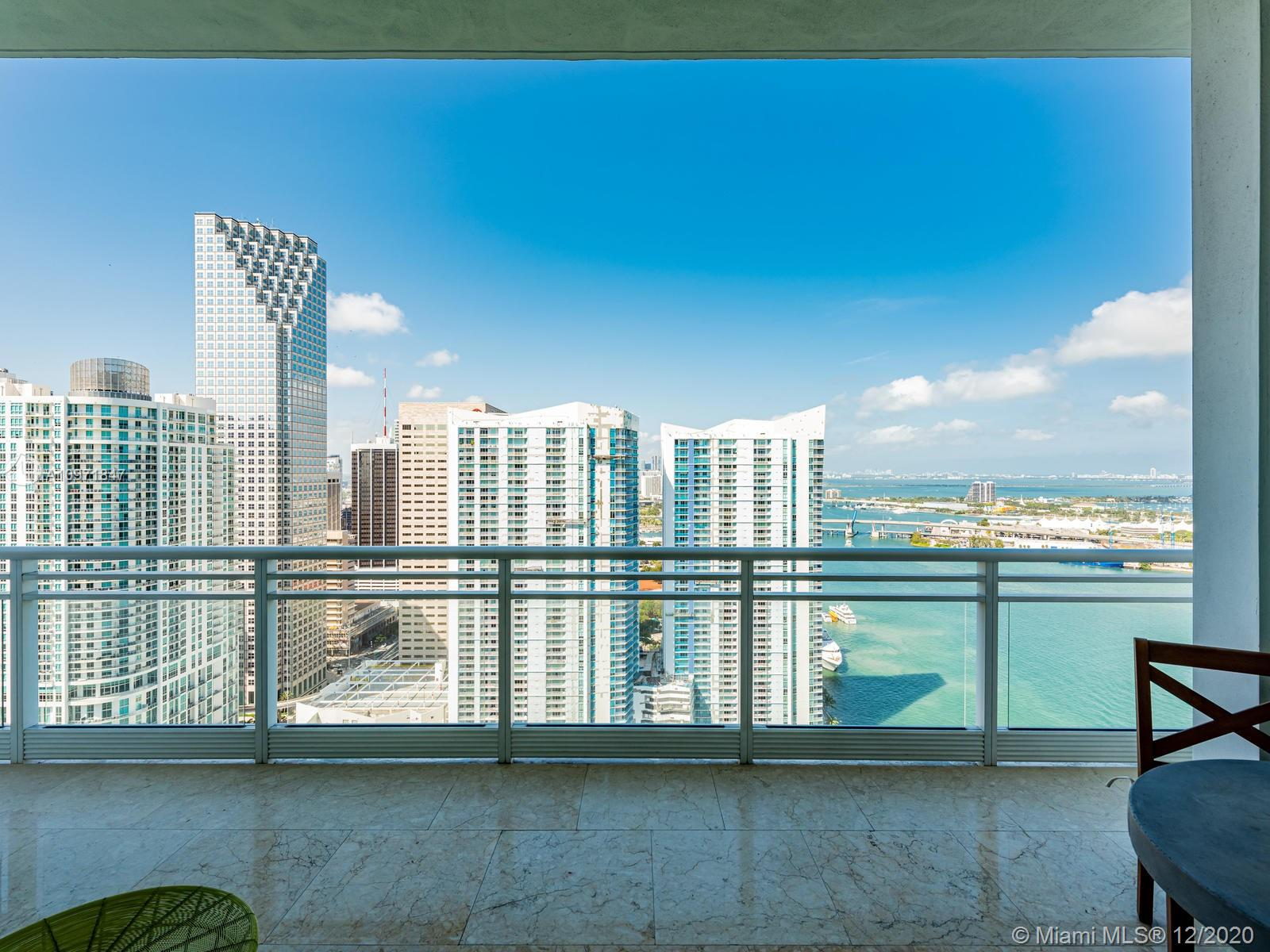 Impeccably upgraded unit at the iconic Asia on Brickell Key. 2 beds, 2.5 baths, private elevator, 12' floor to ceiling windows throughout, breath-taking water & city views from balcony, highest quality finishes, high-end wall coverings, custom made doors, gourmet kitchen w integrated wine cooler, built in espresso machine, top of line granite, custom-made closets, lighting fixtures & soffits throughout, & storage space in same floor. Building offers luxury amenities: wellness center, pool, gym, racquet ball and tennis courts, 24hr concierge service, valet parking and more!