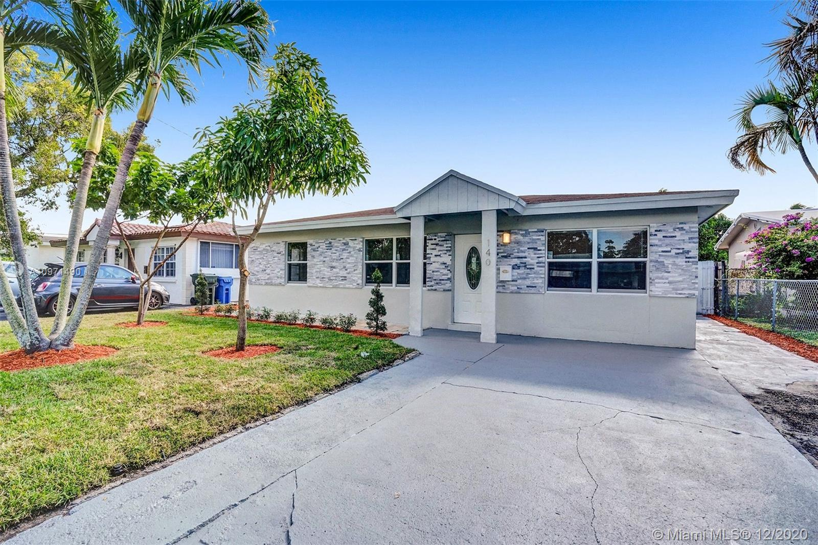 BEAUTIFULLY FULLY REMODELED 3 BEDROOM 2 BATHROOM HOME IN THE HEART OF OAKLAND PARK! PERFECT TURN-KEY HOME OR VACATION RENTAL OPPORTUNITY! HOME FEATURES ALL HURRICANE IMPACT WINDOWS AND DOORS, 2010 SHINGLE ROOF, BRAND NEW FLAT ROOF, BRAND NEW 2020 A/C UNIT, NEW ELECTRIC TANKLESS WATER HEATER, NEW BATHROOMS, SEPARATE LAUNDRY ROOM WITH NEW WASHER AND DRYER, NEW IRRIGATION SYSTEMS WITH NEW PLANTS, NEW CUSTOM KITCHEN WITH HIGH-END EUROPEAN CABINETS, BRAND NEW STAINLESS STEEL APPLIANCES, QUARTZ COUNTERTOP, RECESSED LIGHTING THROUGHOUT, VERY LARGE BACKYARD NICE FOR ENTERTAINMENT OR TO BUILD A POOL, SPACIOUS DRIVEWAY, FRESHLY PAINTED INSIDE/OUT, COVERED SPACIOUS PATIO AREA... MINUTES FROM SCHOOLS, BEACH, SHOPPING PLAZAS, ETC... HURRY THIS WONT LAST LONG!!