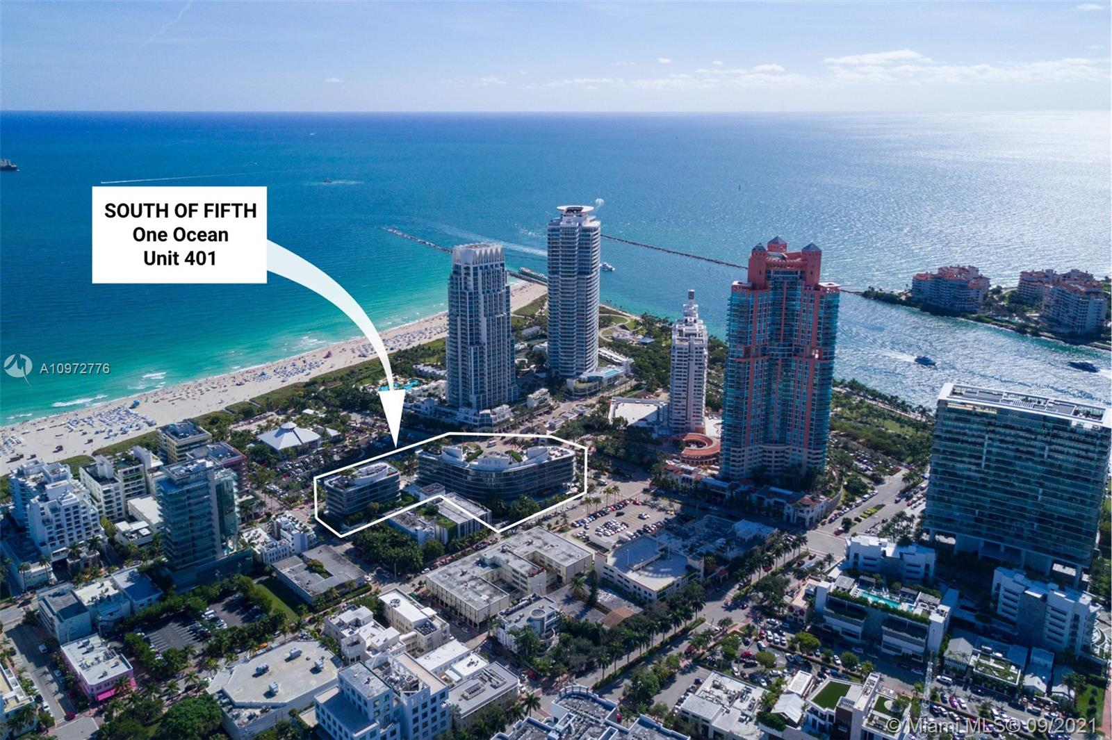 """RARE & UNIQUE 5 BEDROOM/5.5 BATH residence at One Ocean, South of 5th's Luxury Boutique Low-Rise condo! JUST ONE BLOCK FROM THE OCEAN, with ONLY 46 Premier units, residents enjoy Privacy & Exclusivity in Miami's Most Prestigious Enclave. With interiors by Yabu Pushelburg, this Beautiful & Bright SE Corner features Ocean Views, luxurious 9"""" Wide Oak Wood Floors, Floor to Ceiling glass, Electric Shades, an 856 SF Corner Terrace, Italcraft kitchen cabinetry w/ Wolf GAS STOVE & Double Oven, Private Elevator Entry Foyer, Private 2 Car Enclosed A/C Garage & so much more! Building Amenities include a VIP Concierge, Full Service Beach Club, Infinity edge pool, Fitness Center/Spa, Zen garden, & 24Hr Security & Valet. Enjoy living STEPS AWAY from South of Fifth's World Class Dining & Entertainment!"""