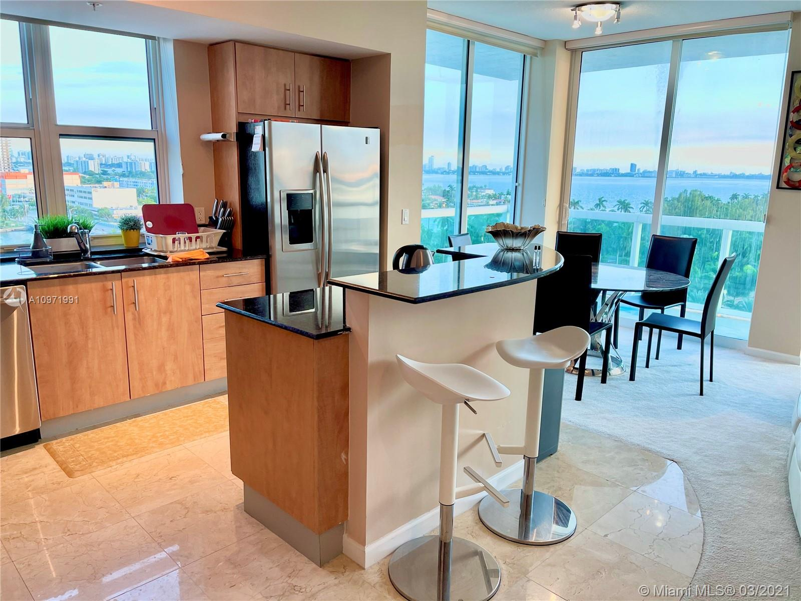 Fully furnished! Perfect location, amazing view of pool area and Biscayne Bay. 2 beds, 2 baths (fit 6 people) Build in walking closets, fully equipped kitchen, washer-dryer in unit. Impact glass balcony and windows. 1 parking space, plus 24/7/365 free valet service to residents and guests. Gym, pool. 24h security