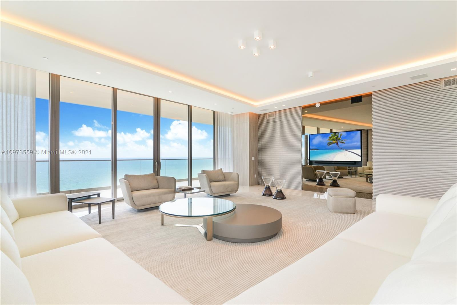 FINISHED AND FURNISHED! Amazing furnished Residences at Armani Casa. Worth to see and show! The most beautiful big corner unit and flow-through units with unobstructed views to Ocean and Bay. Amazing wrap around terrace of about 1,435 SF on top to the 3,839 SF under AC. Fully finished and furnished (4 bedrooms, 5.5 baths, Staff Room and much more. Exquisitely finished and decorated . Unparalleled amenities and 5 star service includes Oceanfront Pool + Bar, Restaurant, Spa & Fitness Center, Grand Lobby and Bar Lounge, Cigar and Wine Room, Children's play area, Concierge, Security and Valet parking. --