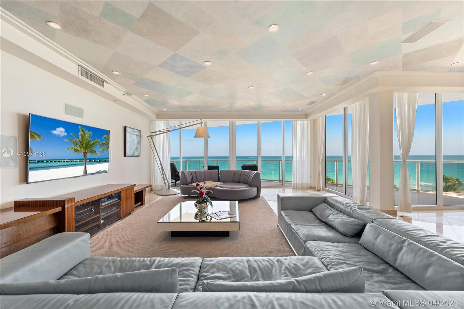 With over 6,000 sq ft, 6 bedrooms, 2 staff's quarters, 9.5 baths, this property represents a rare opportunity ideal for a large family. Special features include a massive oceanfront master suite with his and her bathrooms and large walk in closets, VIP guest suite, an expansive oceanfront living room with sunrise views, massive Poggenpohl kitchen with breakfast area, large bay facing club room with separate chef kitchen/bar and sunset views. Located in world renowned Bal Harbour, directly on the beach, the Bellini is a luxurious boutique full service building with private restaurant, gym and spa. Contact the listing agent to show with 24 hour notice.
