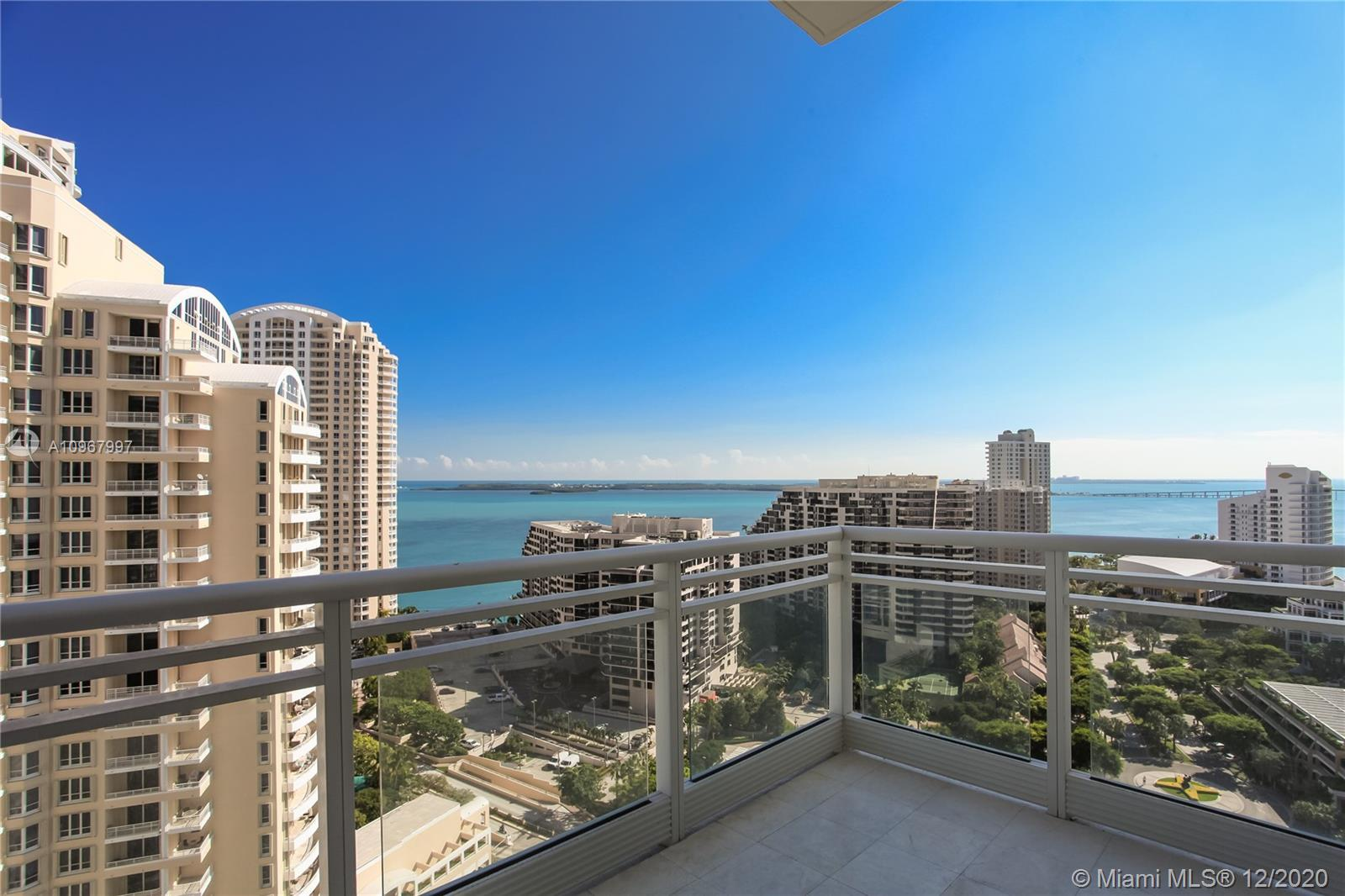 Come see this sensational condo on Brickell Key Island at the luxurious Asia Condo.  Take the elevator to your very own private entryway.  As you enter your oasis, you discover 12-foot ceilings for your 3 massive bedrooms, 4.5 baths, a gourmet kitchen with Miele appliances, 4 balconies with expansive views, maids quarters, and so much more.