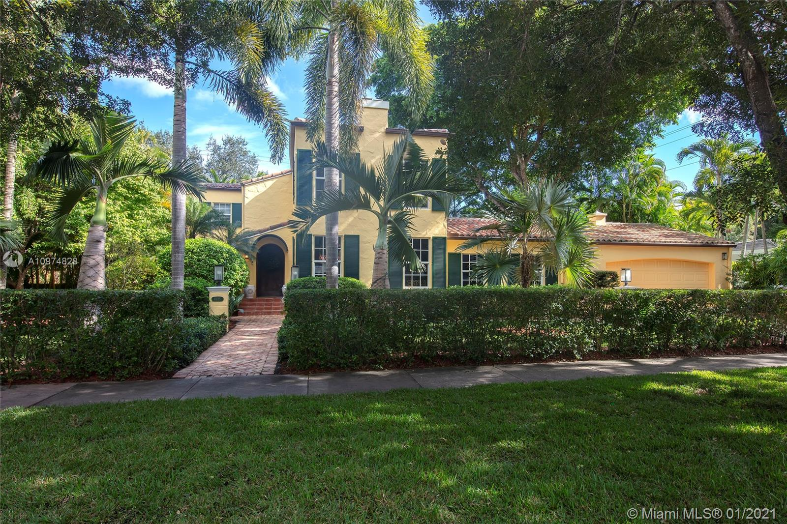 This beautifully restored 1925 Spanish villa is a fine example of historic Coral Gables charm renovated for every modern comfort. This property sits on a 12,500 sqft lot shaded by tall trees & surrounded by tropical plants. The house is 2-story 3/3.5 + 1/1 guest quarters & boasts a fully updated kitchen w/Subzero fridge & Wolf stove, renovated bathrms, oak floors, Florida rm, playrm & 2 wood burning fireplaces. The pool w/waterfall, gardens & summer kitchen are perfect for outdoor entertaining. Impact windows, 2014 roof, full house generator, heated salt-water pool, built-in bbq & 2-car garage. This home is in ideal location, close to shopping, dining & within walking distance to Sunset Elementary School. 