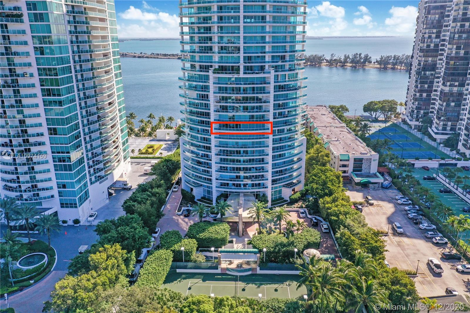 Opportunity to live in one of Brickell's most Iconic buildings developed by Ugo Columbo and designed by Miami-based architecture firm Revuelta Vega Leon Architects. This unique unit faces west for the most spectacular sunset views, boasts a 700sq ft wraparound balcony, floor-to-ceiling glass windows, two full baths and a den which can easily be converted to a second bedroom. Priced to sell and has enormous potential.
