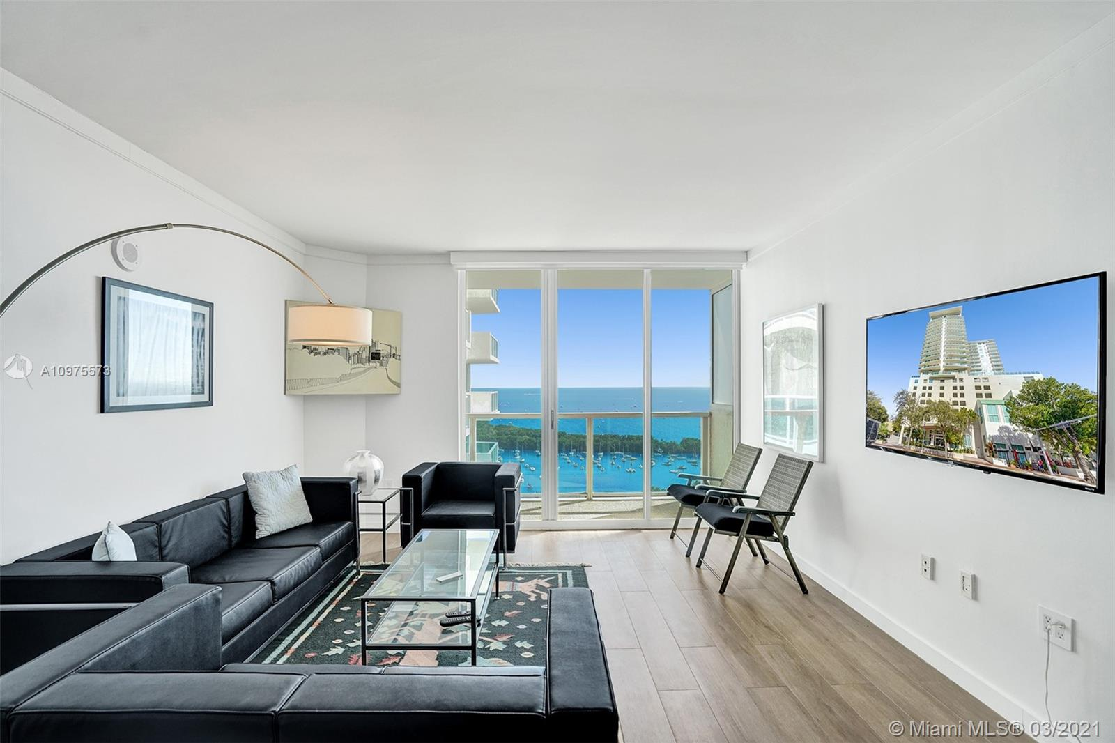 Stunning and renovated 1/1.5 with modern contemporary high-end finishes and top of the line European kitchen appliances. Located in the Hotel Arya with high floor bay views from every room. Conveniently located in charming Coconut Grove within walking distance to top-rated restaurants, cafes, chic boutique shops, and much more. Enjoy luxurious amenities and services of the Hotel Arya while living in your private residence. Amenities include a heated pool with spa, fully-equipped fitness center, squash courts, front desk with concierge service, and valet parking. Benefit from a flexible rental policy. Great for full or part time use or corporate rentals. Pet friendly.