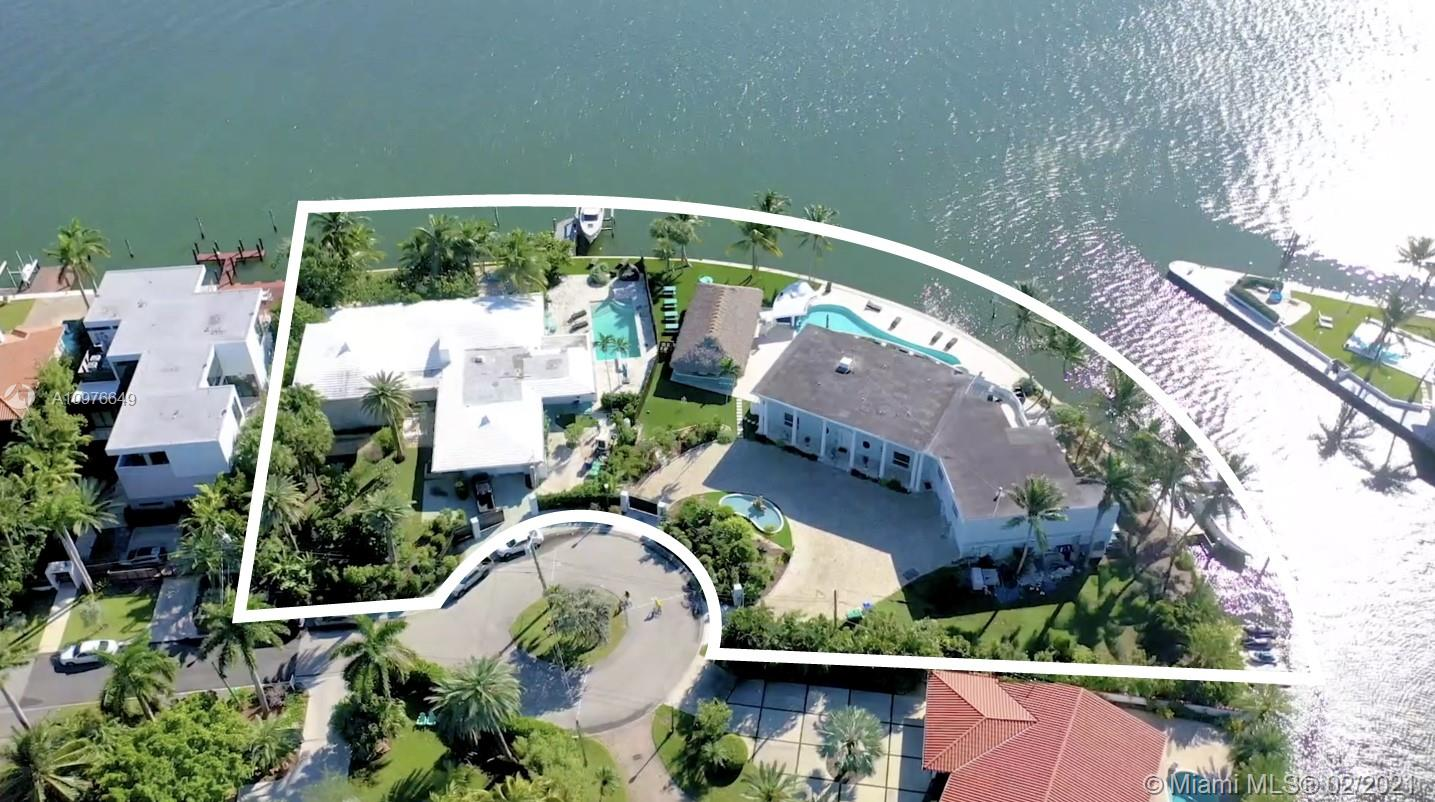 480 FEET OF WATERFRONT, One Miami's Largest Open Bay waterfront available on the market, along with 57,000 SQFT of land! This property is sold as a combined property 7301 & 7305 Belle Meade Island making it one of the most unique properties in Miami. Enjoy some of the best views of the bay with a bird sanctuary across and watch dolphins swim by along with gorgeous night views of downtown Miami Skylines. The property currently features a combined 11 bedrooms two pools and is combined with a large Tiki hut for entertainment that features, BBQ, BAR, Brick oven pizza, movie Theater, and huge space for events and gathering. Enjoy the home or build a new home with the largest water bay views available. Neighborhood is gated and island is very special with already 4 new homes built