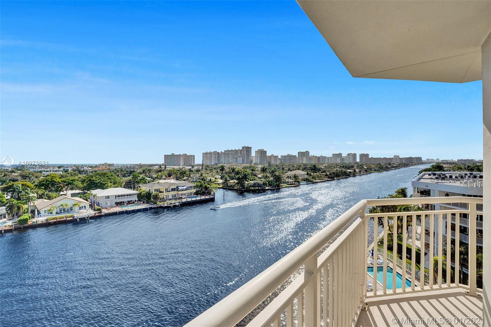 Experience one of the finest Intracoastal waterfront views in Fort Lauderdale.Enjoy stunning sunrise over the ocean views from your large open balcony.This premium,rare 2 bedroom plus den double unit offers 2702 sq ft of living space & a spacious corner master suite w/endless waterfront views.Need a home office, you got it- this unit is all set up.Newly remodeled,beautiful bright kitchen, bamboo wood floors,stunning stone accent wall in dining area,2wraparound balconies,2 garage parking spaces and high-impact glass throughout.Luxury amenities include heated pool,BBQ & newly renovated fitness room. Bring your boat!There are two very large deep water docks.Pet friendly property.South Florida's finest location,this private SE corner unit with breathtaking views w/mins to Lauderdale By The Sea