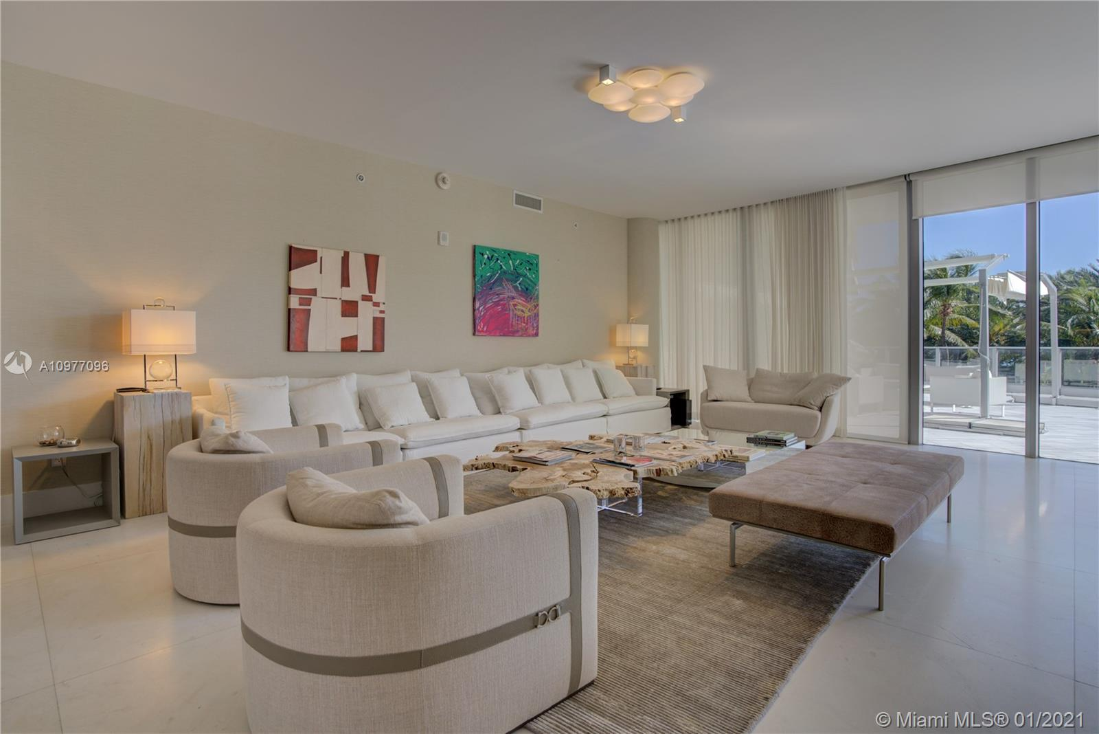 Gorgeous 3 Bedroom 3.5 Bath Corner Residence at Marea Condo in Miami Beach. Unit features private elevator that opens up into a 2,332 interior sqft Residence with an additional Massive Oversized 1,992 sqft Terrace. Beautifully Furnished by Artifact, Italian Kitchen Cabinetry by ItaliKraft, Wolf/Subzero Appliances, 10ft ceilings, and Master Bath designed by Yabu Pushelberg. Only 30 Residences in this Boutique building where Luxury meets Art. It is truly One of a Kind! Incredible Amenities with 24hr Security, Rooftop Pool, Exercise Room and Award Winning Restaurant. Amazing location walkable to the Beach and many shops and Restaurants.  Call LA for showings.