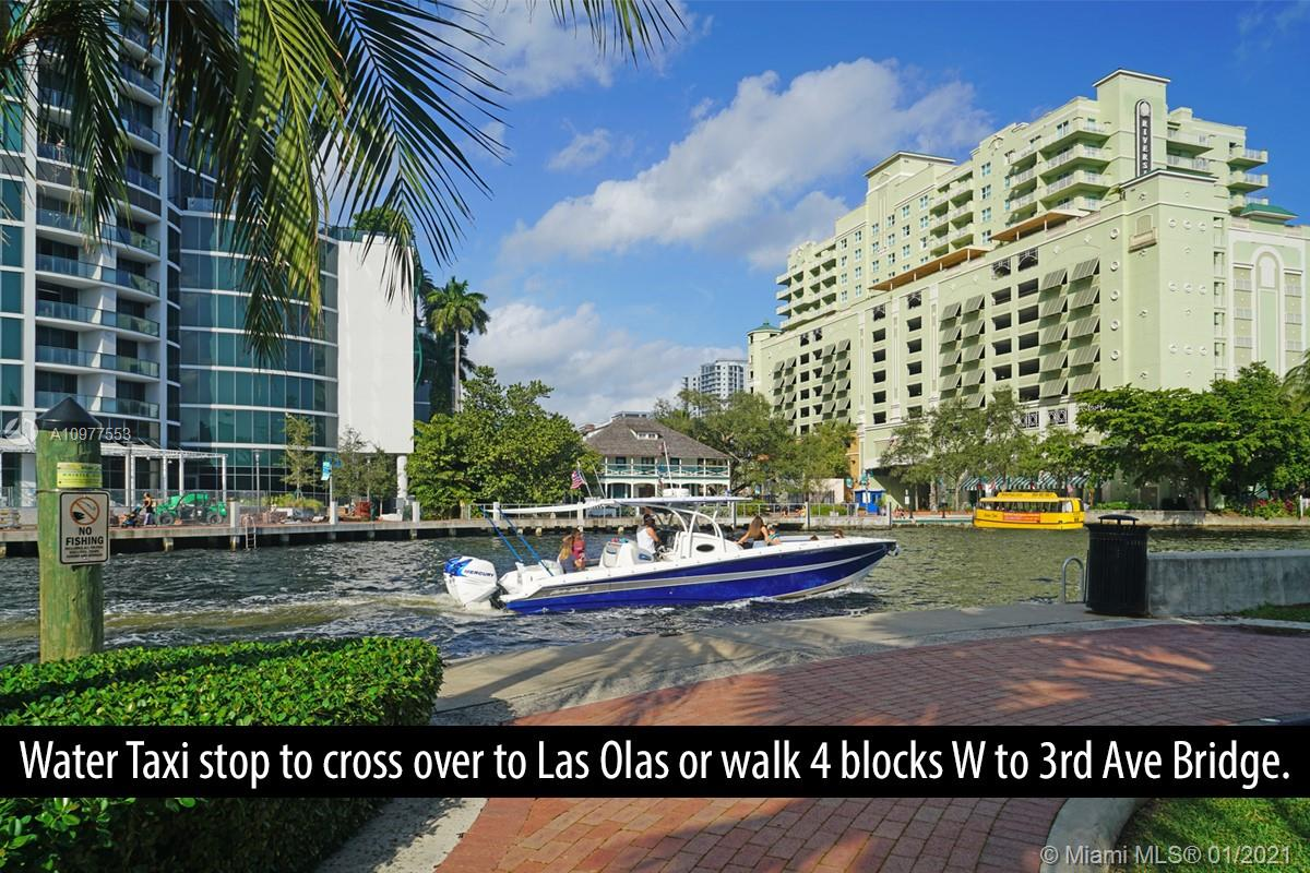 Fantastic opportunity to own a 2br 5 blocks S of Las Olas and its restaurants, stores, galleries, art museum... HOA is $350/mo. 1 parking+street. Perfect as a 2nd home or primary for someone who works downtown or at courthouse (10min walk). Easy access first floor unit with many updates (removal of popcorn ceiling, wood-look porcelain floor throughout, SS appliances...). Please review the pictures to fully appreciate. Water taxi stop to hail it to cross to Las Olas or beyond 100 yards north. Or you can walk/bike along the south shore path and cross over the river to Las Olas on the 3rd Ave bridge. This is a great location convenient to FLL international airport, Publix, WholeFoods, the multiple marinas in the area, Port Everglades... Contact listing agent for all showings or questions.