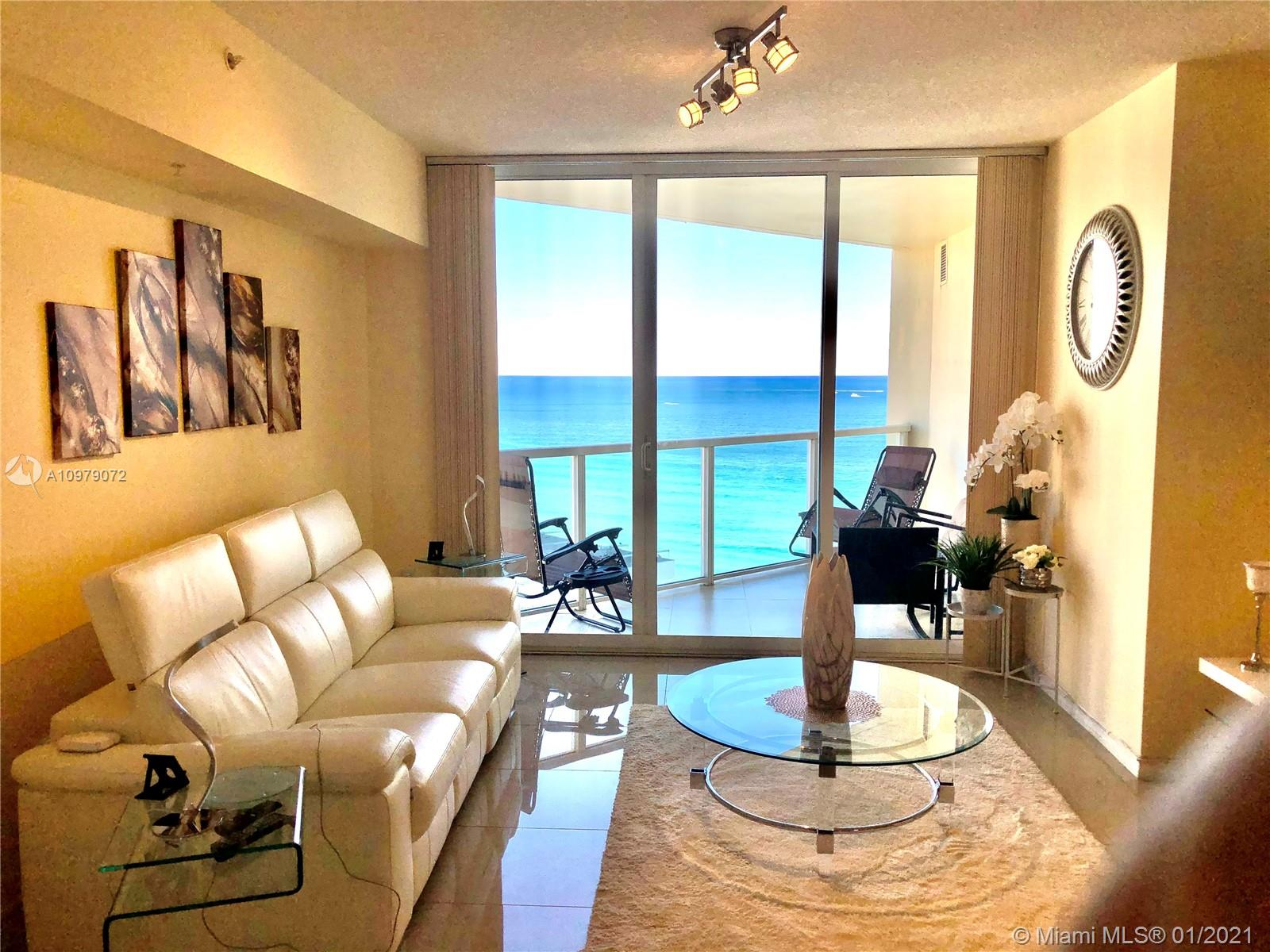 Luxury La Perla 1/1.5 Condo in Sunny Isles Beach FL 33160. Fully renovate with two balcony in living room and master bedroom, features open living area and kitchen w/bar top, spacious bedroom with walk-in closet and nicely appointed bathroom and powder room with washer and dryer closet. Fully tiled with beautiful glossy ceramic flooring. Stainless steel appliances. Building offers 24 hour valet service, resort style amenities including beach service, gym, playroom and business center. Building also allows short term rentals – up to 12 times per year.