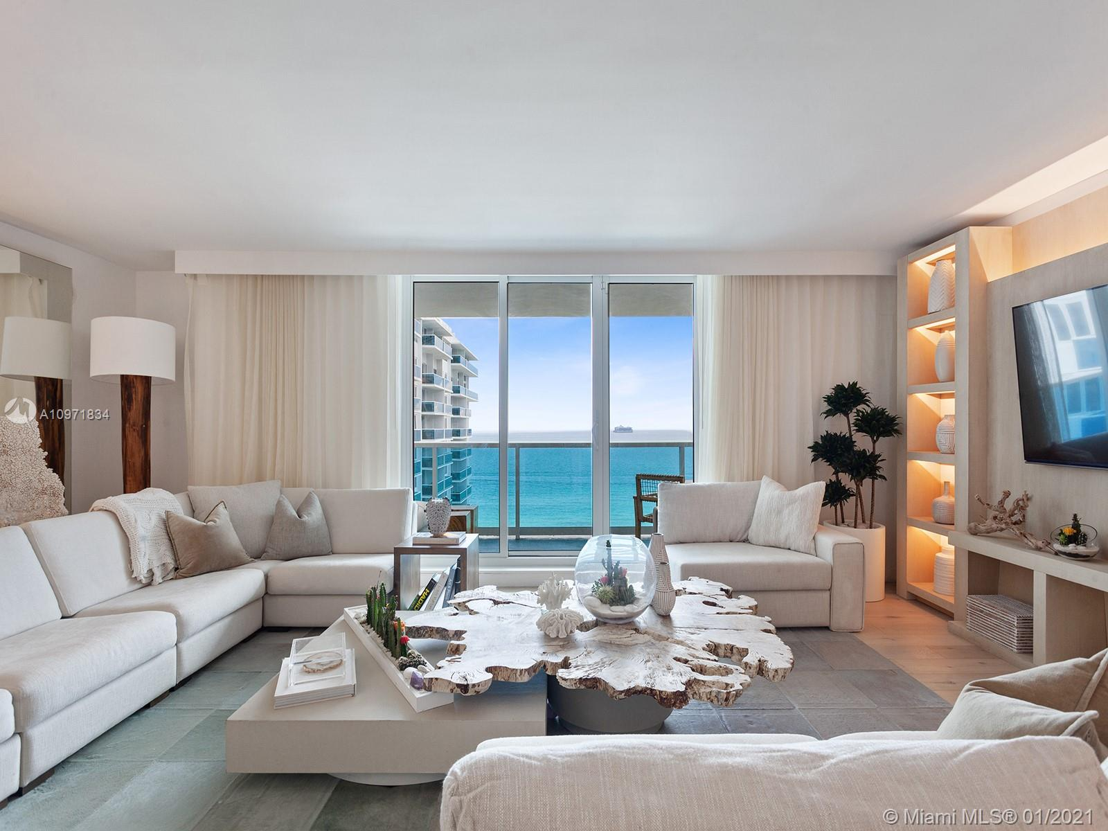 This deluxe oceanfront residence at the One Hotel & Homes South Beach, a prestigious address known for its synthesis of sustainability and luxury, provides a turnkey experience for those looking for a Miami pied-a-terre, as well as a healthy rental revenue stream when not at home. Completely furnished and equipped by interior designers Meyer Davis Studio, the unit is provided with housekeeping and concierge services by the hotel, which can include everything from pre-arrival pantry stocking to luxurious bathroom toiletries. Along with access to hotel amenities, enjoy resident-only services such as a house car, and residential entrance. The 2233 sq. ft. unit comes with three bedrooms and three full baths, in-unit washer and dryer, and spectacular balcony with pool and ocean views.