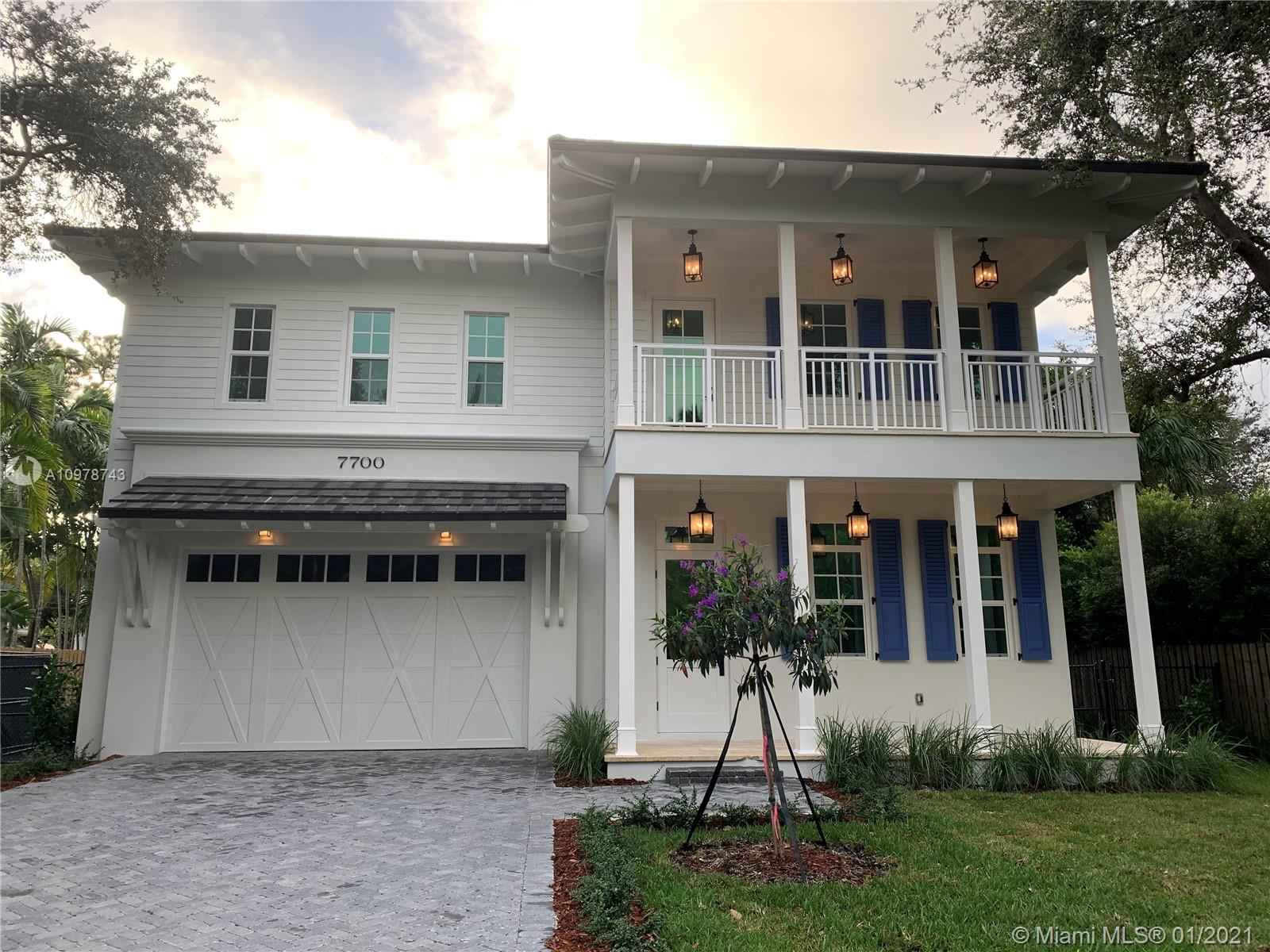 This stunning Coastal Plantation Style home truly stands apart from all the homes in the City of South Miami. This home is situated on 10,000sf lot. Completed in December 2020, this home boasts 5 bedrooms, 5 1/2 bathrooms and 2 car garage. Beautiful kitchen featuring Thermadore Pro Series Appliances. Large Family room that opens to a covered terrace. The home features a full bar with a built in beverage center. All bathrooms are beautifully finished to compliment the home. Fully prewired for cameras and speakers throughout. Natural gas appliances and water heaters. Solar Panels for additional cost savings. Walking distance to downtown South Miami.