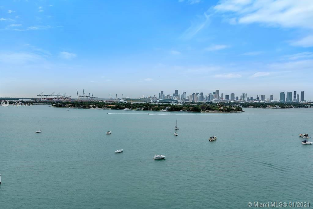 Enjoy spectacular views of Star Island, Biscayne Bay and Miami's skyline from your own private balcony! This corner 2bed/2bath residence offers pampered hotel lifestyle in the most attractive line at the Mondrian! Furnished, the unit can be rented daily, weekly, monthly - no restrictions! Great for both private use and/or rental. Enjoy Baia Beach Club with 2 fully staffed pools & inviting cabanas with food and beverage service, state of the art fitness center, spa/salon, 2 bars, indoor & outdoors dining options, concierge, 24/7 security, private marina with boat dockage. Valet parking space included. Located on West Avenue across from Whole Foods and a few blocks away from South Beach and its finest dining. Live in one of Miami's most trendy, 5-star condo-hotels. Unbranded video available.