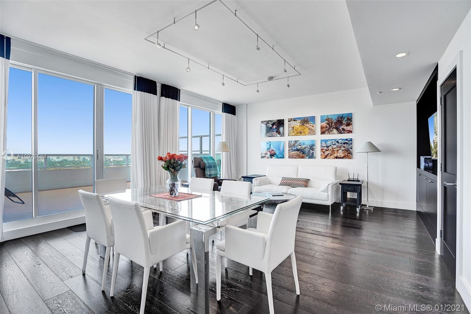 Stunning 1bed, 2bath Penthouse with an oversized balcony overlooking the amazing Coconut Grove Skyline! Beautifully remodeled featuring gorgeous dark stained wood floors throughout, floor to ceiling glass sliding doors, high ceilings, custom interior doors, detailed lighting, contemporary high-end finishes, and an open kitchen with top-of-the-line appliances. The Arya is conveniently located in the heart of Coconut Grove walking distance to top-rated restaurants, cafes, chic boutique shops, art galleries, and more. Enjoy luxurious amenities and services while living in your private residence. Amenities include a heated pool, fully-equipped fitness center, squash courts, front desk concierge, and valet parking. Perfect for full or part time use, benefit from a flexible rental policy.