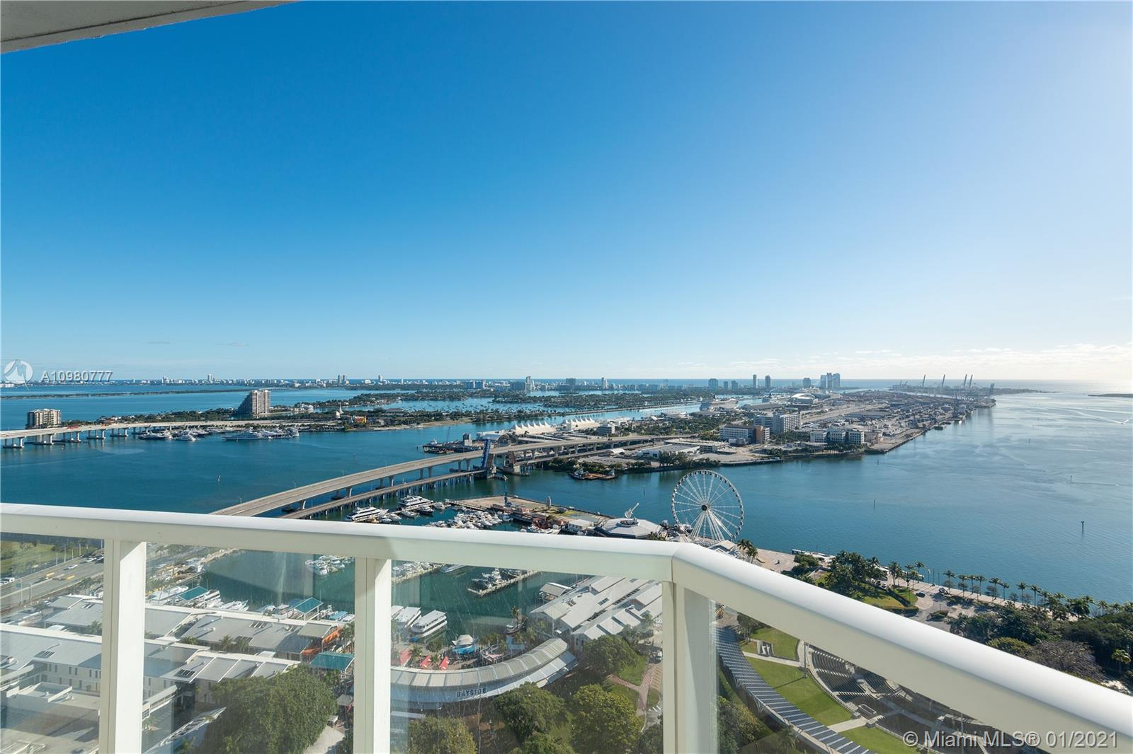 This incredible large 2 Bedroom plus a Den features a direct East water view with panoramic and unobstructed view of the Bay. 1,363 SF with two balconies with the best views of Downtown, fully furnished. The Clubhouse here is absolutely incredible , four-story, 35,000 square-foot  overloaded with health, fitness, beauty and wellness possibilities. The entire first floor is dedicated to spa and salon services. The second floor is a world-class fitness center. The third floor is a private Clubhouse. And way up top on the fourth floor is an outdoor running track. Vizcayne allows Monthly rentals.