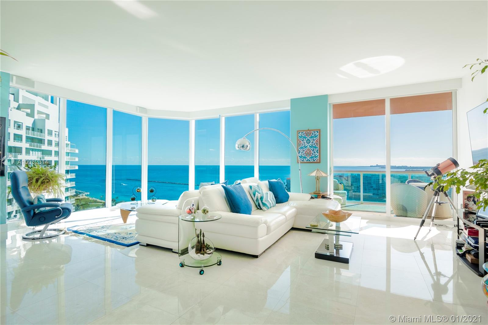 Immaculate 3 bedroom corner residence at Miami Beach's iconic Portofino Tower. Highly coveted and rarely available 01 line, boasting panoramic and picturesque views of South Beach, Biscayne Bay, Fisher Island and beautiful sunsets over the Miami skyline. Floor to ceiling glass with abundance of natural light, brand new marble floors throughout, new high-end stainless steel appliances, Sonos surround system throughout residence and on balconies, exterior lighting installed on balconies. Relax and enjoy unobstructed sunrises and sunsets from your private east and south terraces, or from the master bath tub. The most exceptional apartment available at Portofino.