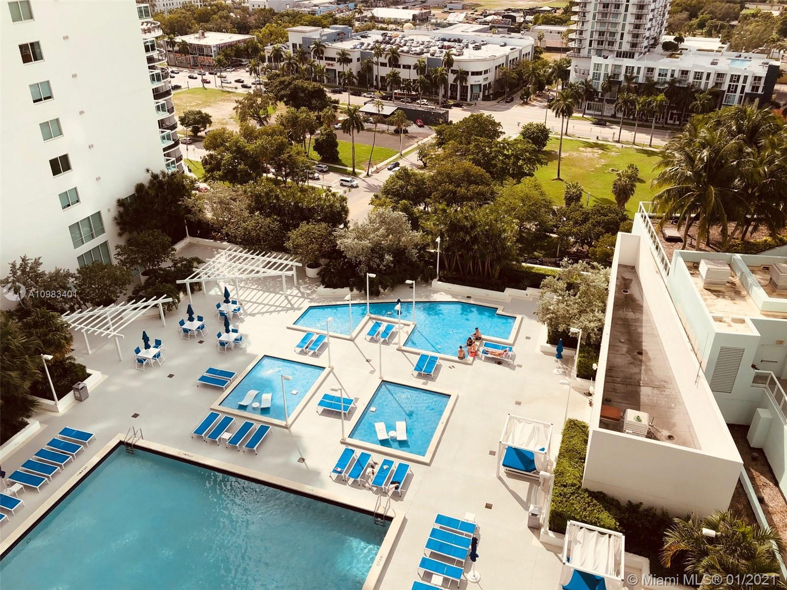 BEAUTIFUL 2/2 W/ 1144 + 192 SQ FT IN TERRACE W/SPECTACULAR SUNSET/POOL VIEWS FROM THE 20TH FLOOR. FLOOR-TO-CEILING WINDOWS IN THE LIVING/DINING & BOTH BEDROOMS,OPEN KITCHEN,SPLIT BEDROOMS,WOOD & MARBLE FLOORS & WASHER/DRYER.CABLE, HIGH SPEED INTERNET & 1 PARKING INCLUDED IN RENT.FULL AMENITIES BUILDING INCLUDING VALET,DOORMAN,CONCIRGE,POLL & GYM ATTENDANT,IN_HOUSE MANAGEMENT,SPECTACULAR POOL AREA, STATE-OF-THE-ART GYM …….. WALK TO MARGARET PACE PARK,NIGHTLIFE, BANKS, SHOPS & PUBLIX & 3 BLOCKS TO PEOPLE MOVER. 5 MINUTES TO SOUTH BEACH, DOWNTOWN MIAMI, THE DESIGN DISTRICT, MIDTOWN & WYNWOOD.EASY ACCESS TO ALL MAJOR HIGHWAYS & PUBLIC TRANSPOTATION.EASY TO SHOW.