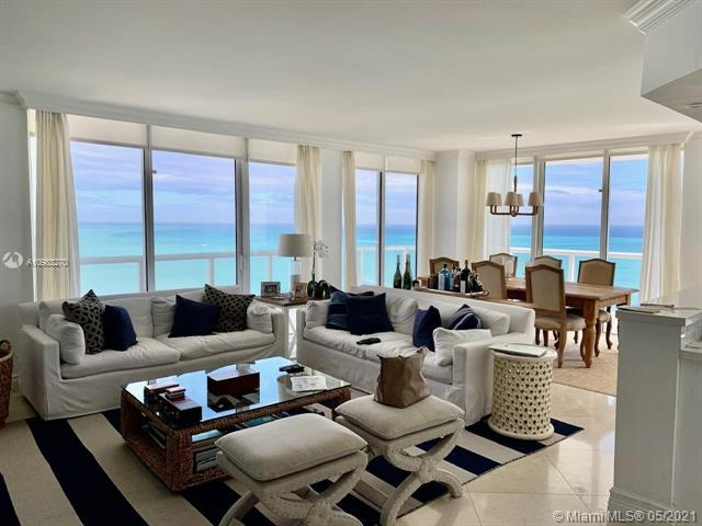 Enjoy the Ocean and Intracoastal Views from this luxurious unit in Miami Beach!!! Beautifully Decorated, high end furniture. 3bed/2,5 bath. Building has direct beach access with chairs and umbrella service, pool, jacuzzi, steam, sauna, tennis courts, racket ball, fitness center overlooking the Ocean, BBQ and more. A few minutes from Bal Harbor shops. Must See!
