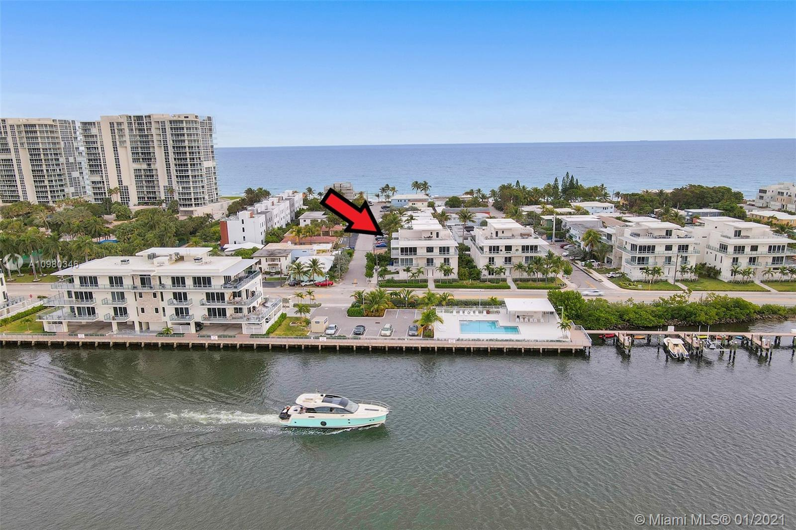 Live in comfort and luxury in your new 4000 sf Beach Home. Beautiful wide sunny beaches just steps away. This is truly top a of the line property with a private elevator, porcelain floors, custom designed kitchen with Wolf & Sub Zero appliances.  A marvel of contemporary architecture, the most beautifully decorated 4 bedrooms, 4 bath house. The level of sophistication in the choice of materials, textures and colors is unparalleled. Spacious open living area. Watch the boats go by or the sun rise from set your 1200 sf roof top deck with Ocean to Intracoastal views.  This is a one of a kind property for Hollywood Beach and is in perfect move in condition available for immediate occupancy.