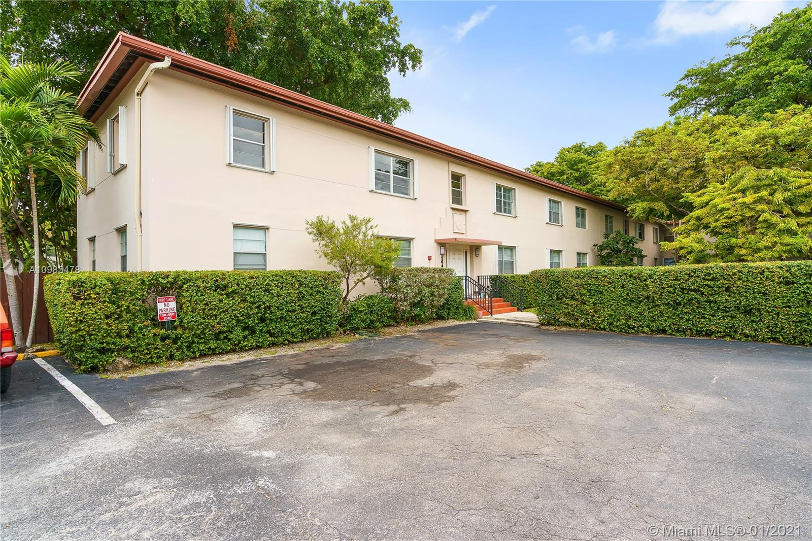 Oversized South Miami condo ready for its new owner! This south-facing upstairs end unit is brightly lighted, features natural hardwood floors, fresh paint, spacious living areas, and large windows. New AC, accordion hurricane shutters, large closets, 2 ceiling fans, cable-ready, downstairs mailbox. Lush, fenced-in garden w/ walking paths. Large, lovely pool, updated laundry room, clubhouse, back yard BBQ/picnic area. The building only has 4 units and boasts plenty of parking. Located just minutes from US-1, Univ. of Miami, downtown Coral Gables, great schools, and dining. A 5-minute walk to South Miami, Shops at Sunset Place.