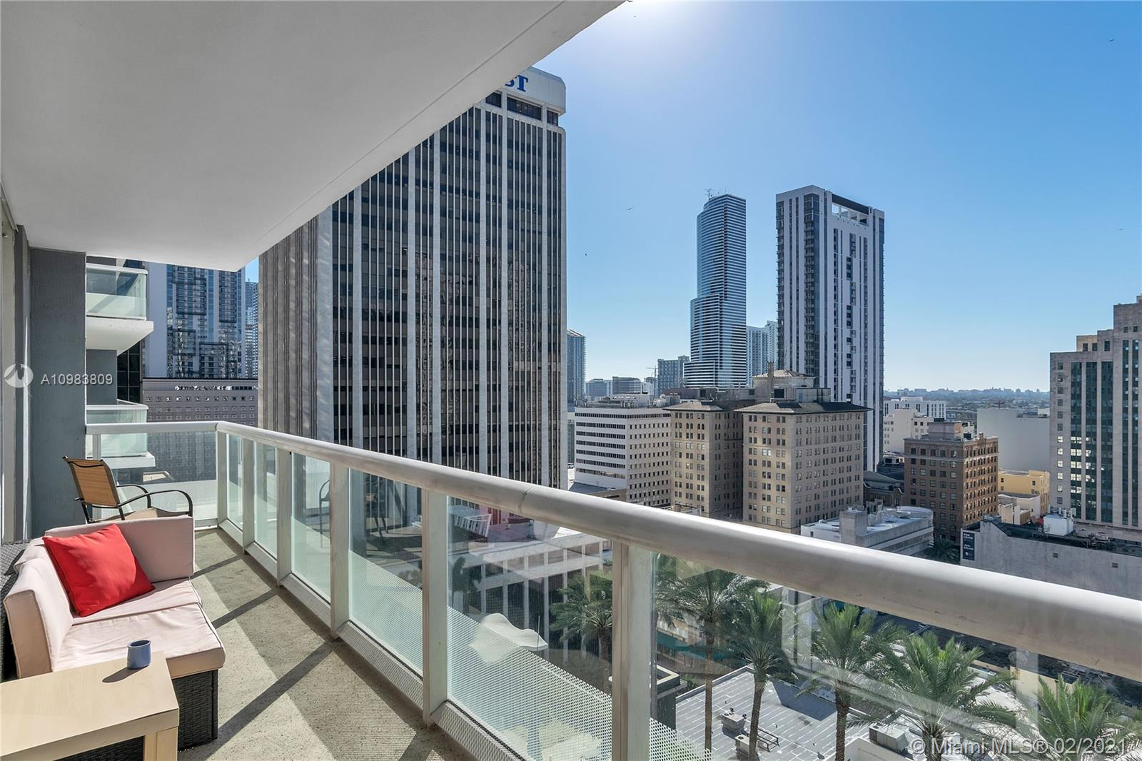 50 Biscayne is the iconic building in every picture of the Miami downtown's  skyline, The unit is a 1 bedroom plus den, floor to ceiling impact window, Amenities include  Heated pool state of the art spa, private fitness room conference room, security 24 hours plus lobby attendance concierge, valet parking 