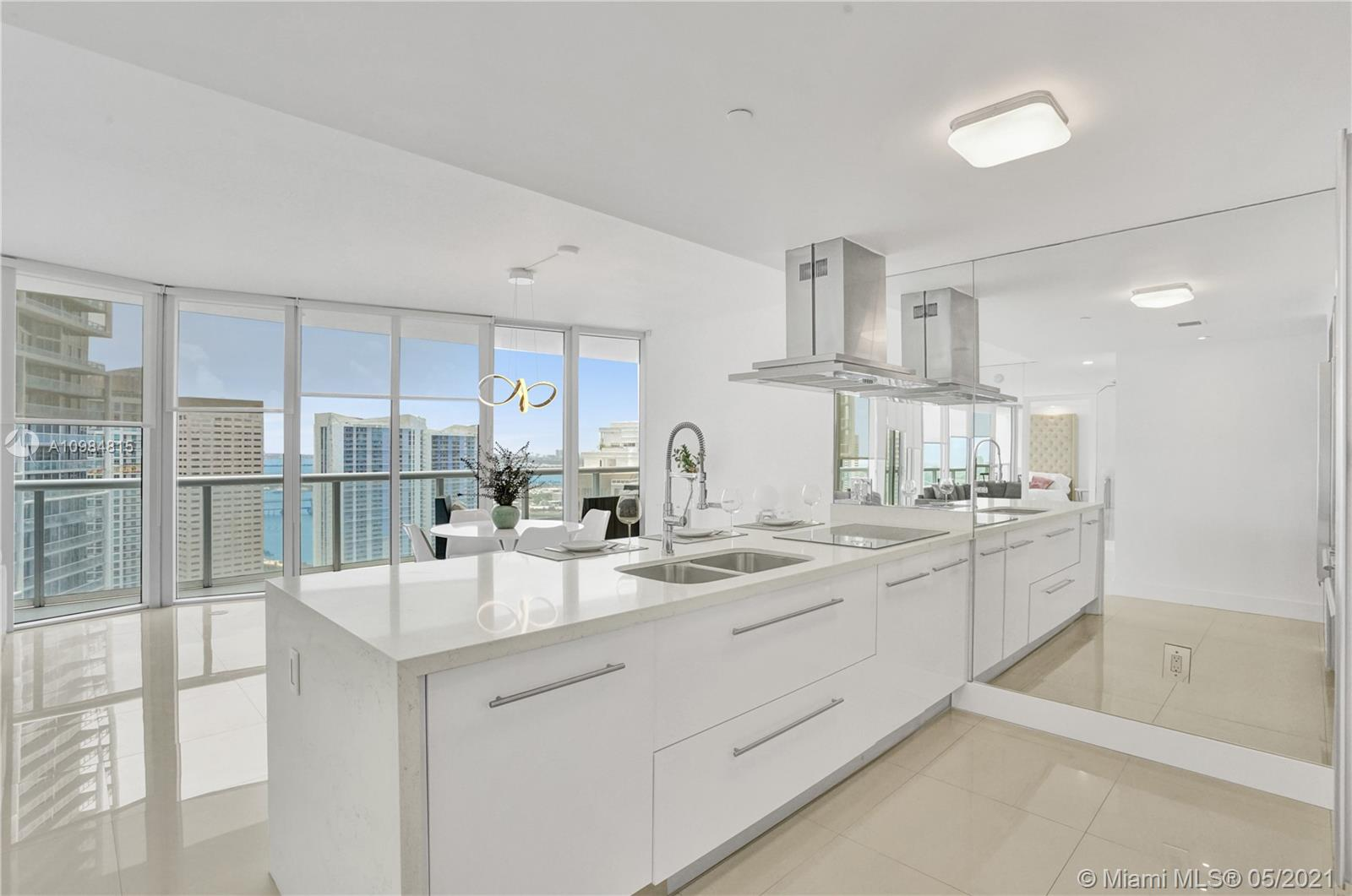 Enjoy this unique high end designer unit with stunning water views from every room. This brand new updated 2/2 unit with modern elegant furnishings is waiting you with all the details that make your life comfortable. It has a fully equipped new kitchen, designer cabinets, televisions, towels, bedding, etc. The famous Icon Brickell's resort-style 5-star amenities include a 300-foot long pool, 50-person hot tub, 28,000-square-foot spa and fitness center, movie theater, game room, poolside food and beverage service cafe, 24 hour full service concierge and valet parking. Unit is rented until September 30, 2021 for $ 4350. Price includes furniture and full equipment. Just bring your toothbrush.