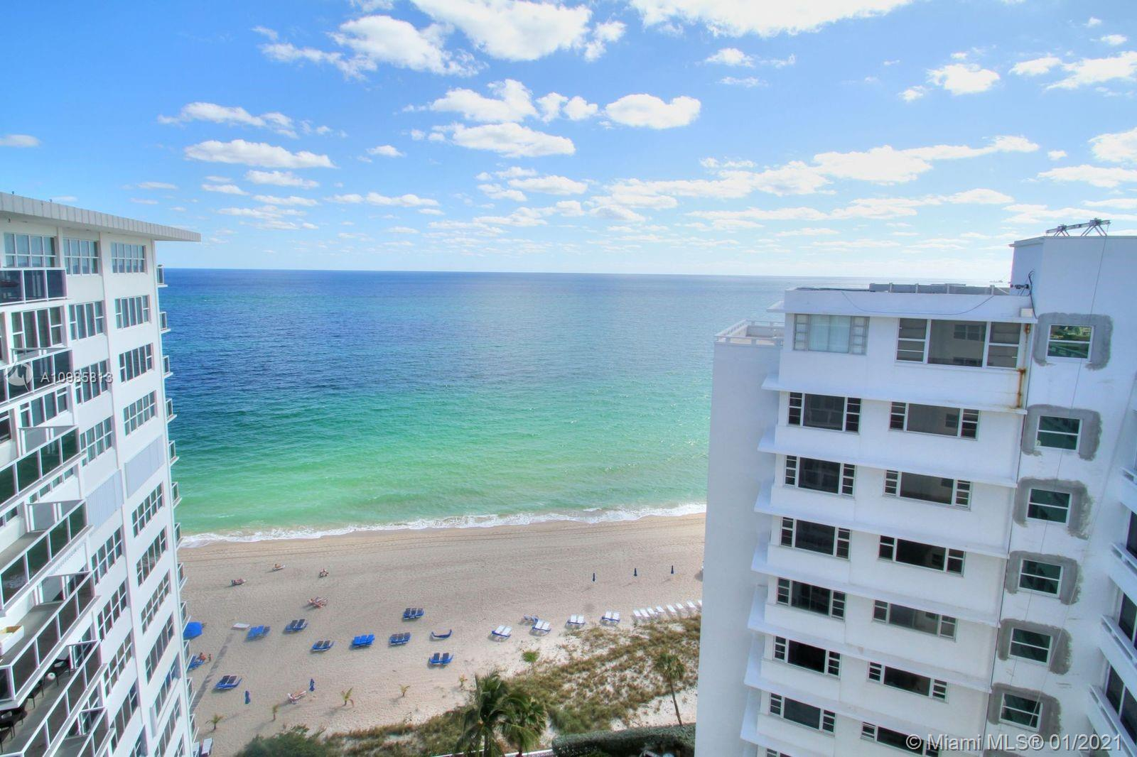 Sought after CORNER Penthouse unit. DIRECT SOUTHEAST OCEAN VIEW. Absolutely breathtaking view from every room. ALL IMPACT GLASS. Two bedrooms, 2 baths & lots of closet space throughout. In unit stack washer & dryer. Furniture negotiable. Some updates. Well cared for unit. Very well managed full service building with helpful & kind staff.  Reasonable association fees of $585. Full Seller paid assessment  for recent major building projects including upgraded glass balconies, hallways, welcoming lobby,new elevators,new fitness & business center & much more. Incredibly large oceanfront heated pool deck with tiki bar,BBQ area,kayak storage & cabanas available.This unit embraces a beautiful beach lifestyle. One bedroom opened to living room.  Can be converted back - has closet and window.