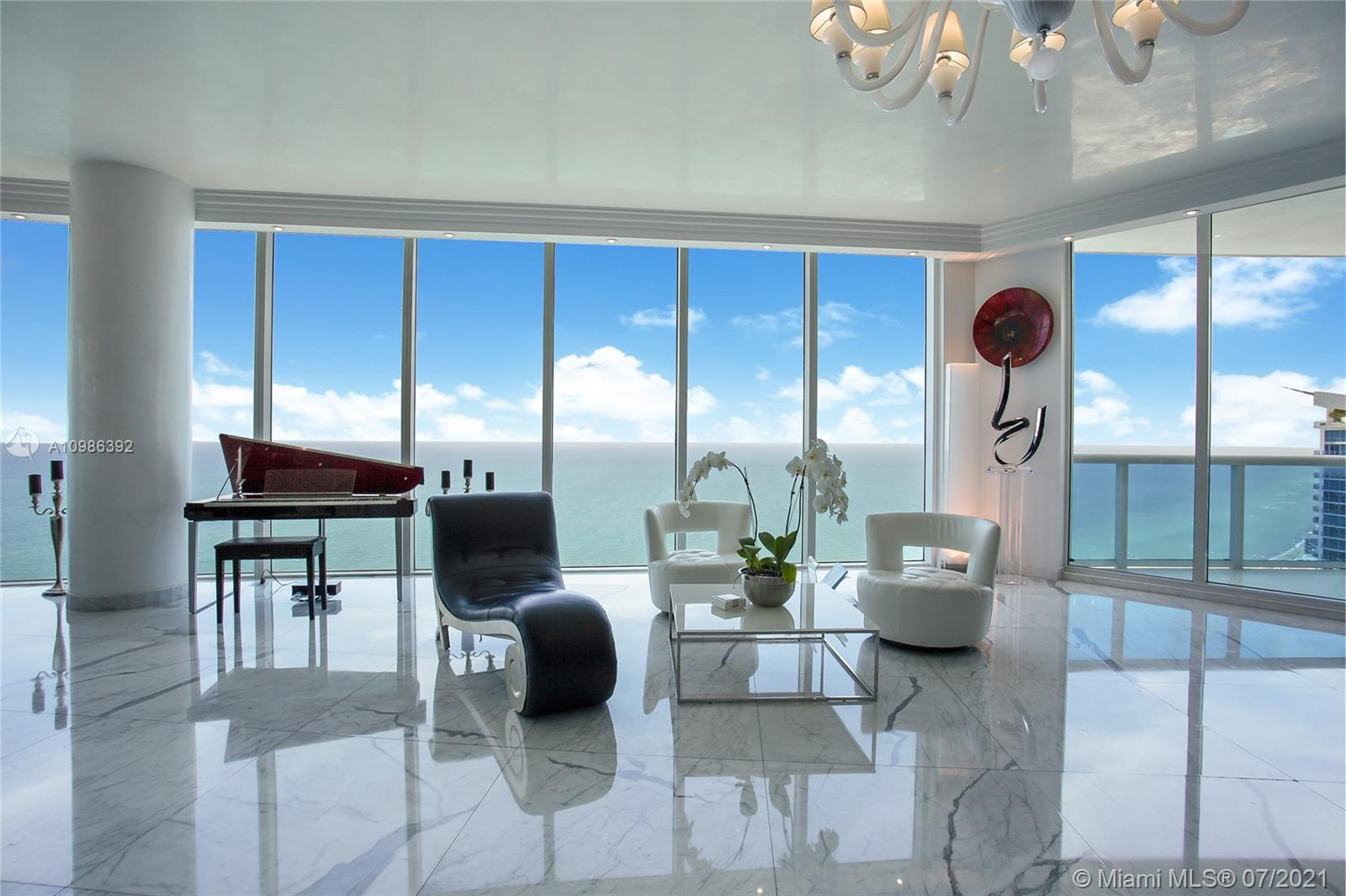 Spectacular Turn Key SKY VILLA! High End Designed Fully Furnished unit! Panoramic Direct SE Ocean Views & Miami Sky Line. 11 Feet ceilings, 5 Bedrooms/ office/ media-family room/ Maid quarter/ Laundry/ Master Suite with His and Hers Bathroom, Steam, Jacuzzi, Mirror/TV. Smart Home, Security Camera, Brand new Bosche AC, Top of the line Kitchen. 2 parking spaces. 5 Star Resort Amenities: State of the Art Fitness Center & SPA, Social Room, Tennis Court, Beach & Pool Service, Restaurant, Security, Valet.