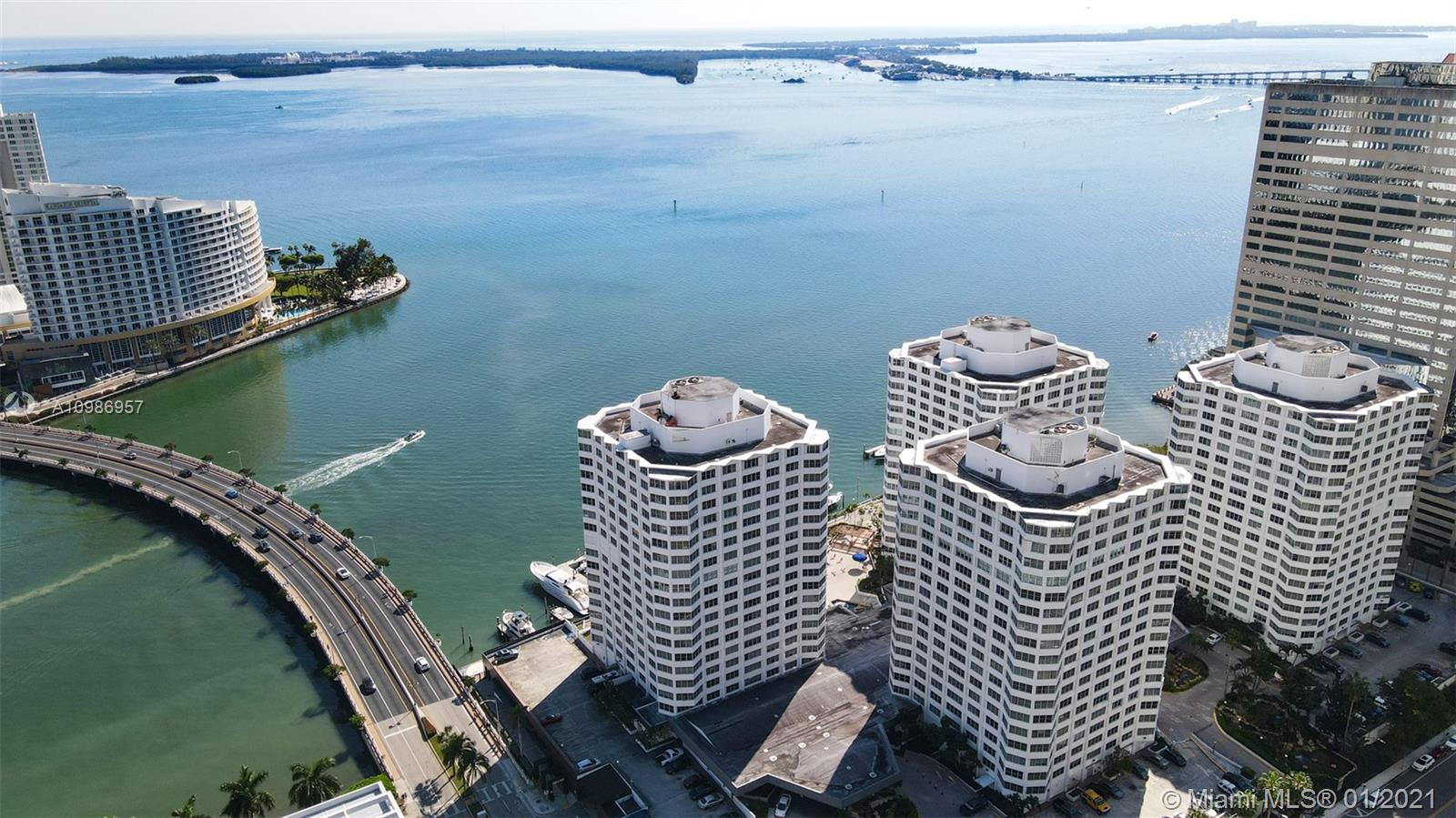 Spacious and bright condo in the heart of Brickell located on the top 20th floor of the Four Ambassadors, Tower 1. This unit has 2 bedrooms, with large master and walk-in closet, 2 full bathrooms and tile floors throughout, kitchen with beautiful granite countertops, wood cabinets and stainless steel appliances. This building offers great amenities right on the Intracoastal; valet parking, two large pools with bay views, jacuzzi,  grocery store, hair salon, gym and marina. The maintenance fee includes electricity and water, plus exterior insurance coverage. Walking distance to Brickell City Center, banking and more.
