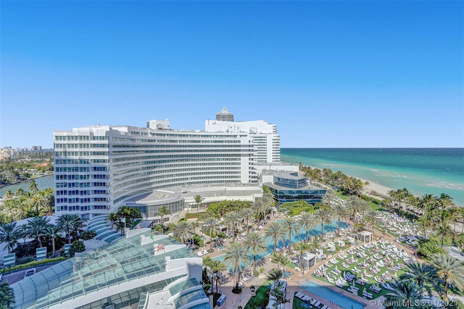 Beautiful just refurbished Jr Suite with 1 bath w/ocean & pool views at The Fontainebleau III. Enjoy full service, vacation-style living in a furnished turnkey unit with king bed, sleeper sofa & more. Enroll in hotel rental program & receive income while away! The Fontainebleau Resort offers luxury amenities on 22 oceanfront acres including award-winning restaurants, LIV night club, Lapis spa & state-of-the-art fitness center. Maintenance includes: AC, local calls, electricity, valet + daily free breakfast in the owners lounge.