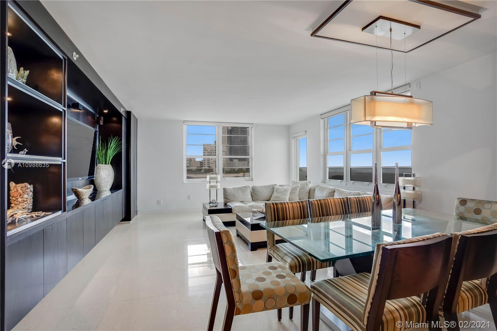 The Decoplage is an oceanfront condo Located on famous Lincoln Rd in the heart of Miami Beach, steps away from restaurants and shops. Next door to the Ritz-Carlton Hotel. This large 2 bed/2ba corner residence offers fantastic direct ocean views. The kitchen opens to a large living-dining room with direct ocean views. The balcony overlooking the beach and ocean. Built-ins, spacious Primary bedroom & great details throughout.  Offered fully furnished. The Building has a short term rental policy of 30 days and offers great amenities.