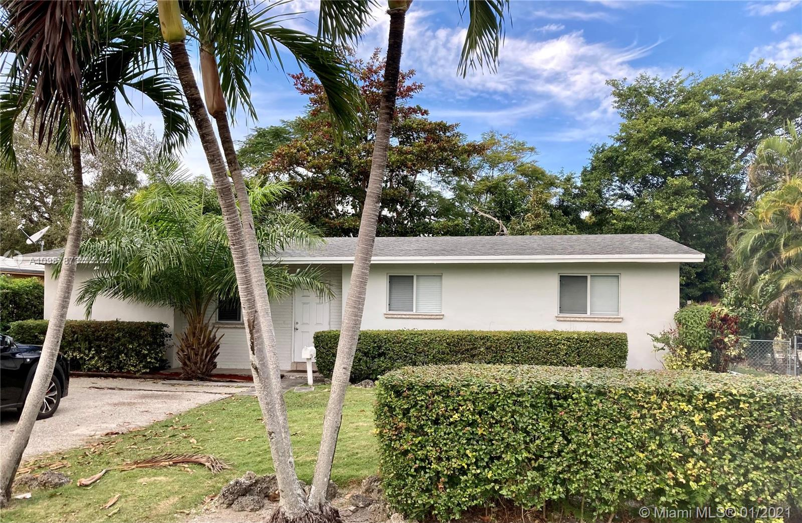 Wonderful 4/2 on great street just blocks from University of Miami. Great layout with tile floors and separate laundry room. Excellent rental income opportunity or make this your lovely new home! Large lot with mature trees & plenty of room for expansion. Fabulous location close to shopping both in Coral Gables and South Miami.