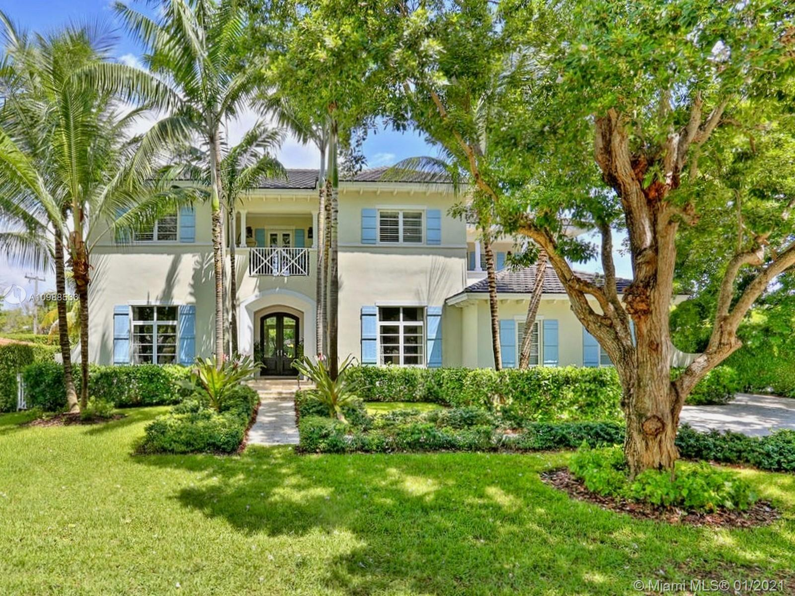 This stunning 5000+ sf island style estate is Gables by the Sea living at its finest. Custom built in 2008, the 5-bed, 5.5-bath, 2-story home features stone floors downstairs, hardwood floors upstairs, high coffered