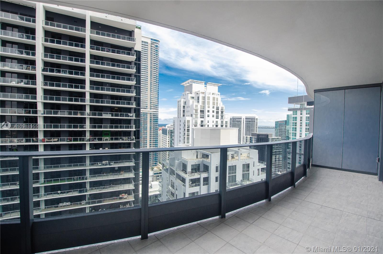 Gorgeous fully furnished Unit with amazing 2 Beds w/2 full Baths. The kitchen features all Miele appliances & cooking island. Marble in baths, separate tub & shower; energy efficient impact resistant floor to ceiling windows and an enhanced insulation sound proofing between units; stunning views of the Miami's skyline. Amenities include the 64th floor rooftop pool with a spa, Steam, sauna, and locker facilities and 6,300-square-foot gym with a Pilates, yoga, aerobics studio, and a juice bar. Includes a lap pool and children's pool on the 18th floor, a movie theater, billiards room, and electric car charging stations. Concierge