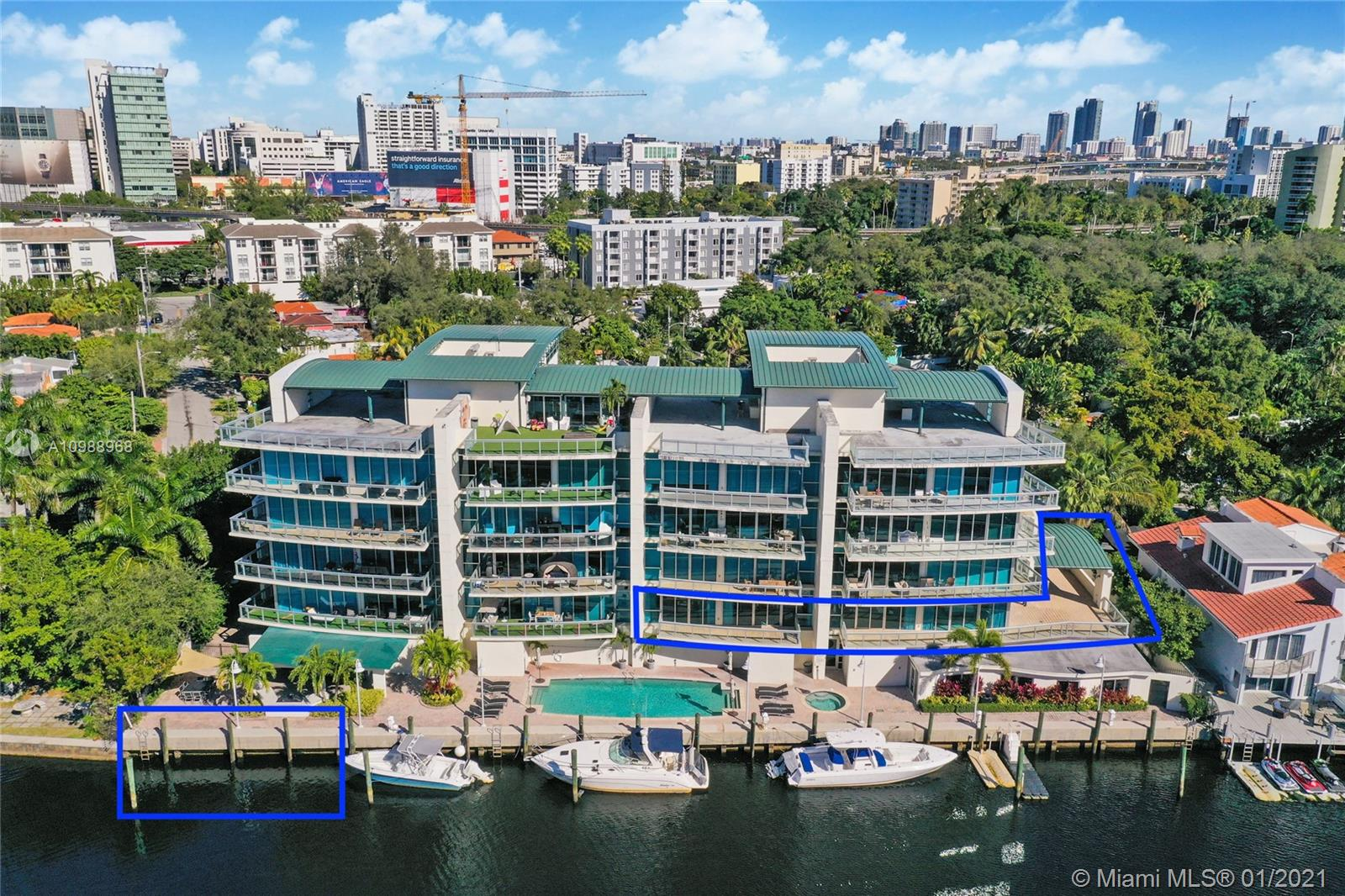 Experience an incredible opportunity to live on the Miami River in a  Luxury waterfront boutique Building located in the Historic Spring Garden. Designed by L. Revuelta, in 2007 w/only 16 private units, this Corner Flow thru apartment offers both River & city views. This stunning renovated residence boasts expansive glass walls throughout w/10ft ceilings, one-of-a-kind kitchen w/gas appliances, 6 Bed/6 baths, converted 4th bed + media room which could be easily put back as 6 bed, 2 master beds w/en-suite baths, all bedrooms have walk-in closets & private balconies, electric window treatments throughout, oversized 2265 SF wrap around terrace w/partially covered patio, Private lobby, 4 parking spaces, Private boat slip 45Ft, 6996 SF in total. 24hr Monitored security, Pool, jacuzzi & gym.