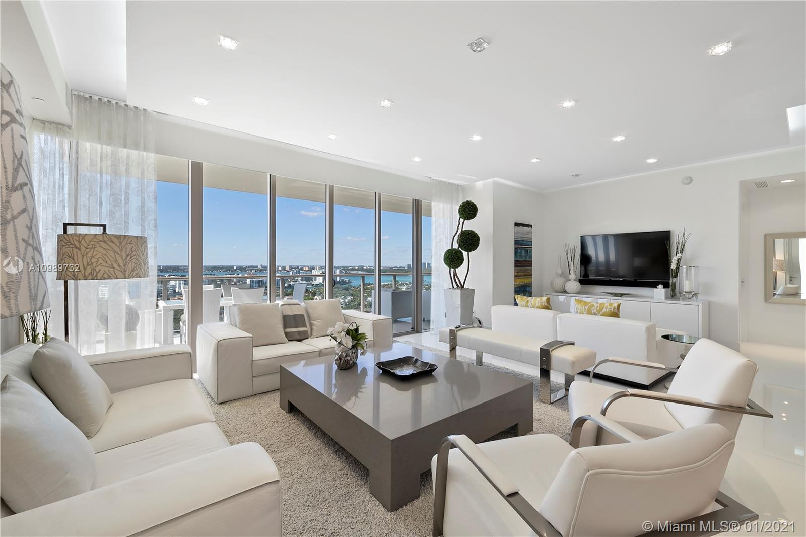 Luxurious lifestyle offered in this immaculately finished 2 Bed/2.5 Bath corner residence in high-end North tower. Enjoy world class amenities and exceptional location across from the Bal Harbour Shops. This residence comes fully furnished offering 1,599 SF of living space and 455 SF corner terrace. Spectacular views of the city and water indoors and out. Finishes include beautiful marble floors, European-imported cabinetry, high end appliances including Wolff gas stove, Meile espresso machine, and wine refrigerator. Window treatments throughout and custom built-in closets in both bedrooms. St. Regis- Bal Harbour offers 5-star amenities including 24-hour concierge, room service, oceanfront cabanas, 4 pools, 3 restaurants, 14,000 SF Remede Spa and valet service.