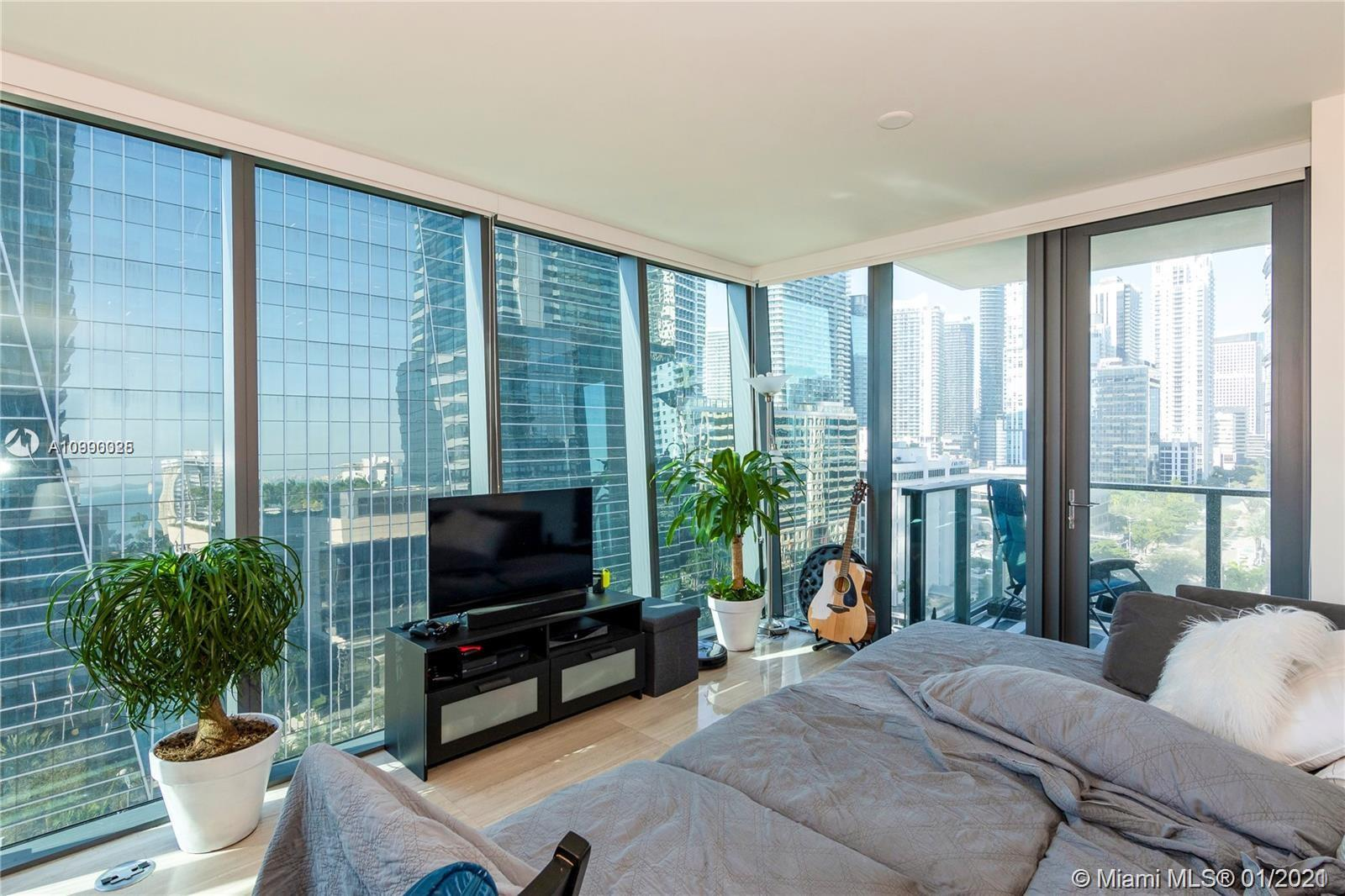 Sophisticated 1 bed , 1.5 bath corner unit at Echo Brickell Residences, a boutique cond designed by acclaimed architect Carlos Ott, in the heart of Miami, Great City and bay views from the glass-framed balcony with a built in BBQ. Top of the line Sub Zero and Wolf Appliances. Amazing pool and deck with panoramic views of Biscayne Bay, Downtown Miami and South Beach. A state-of-the-art fitness center and spa, resort-style poolside/beverage services and 2 hot tubs. 24/7 concierge, valet, pet walker, car service, internet and cable TV. Walking distance to upscale restaurants, shops, supermarket, pharmacies and metro station.