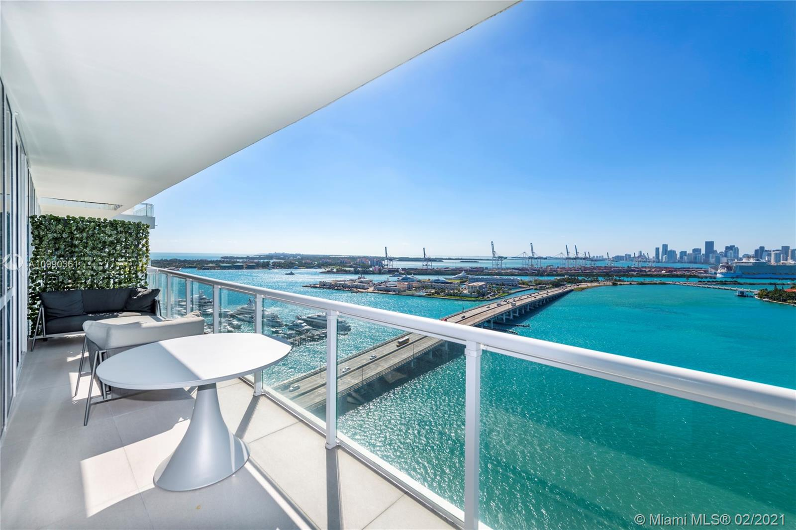 Artecacto Peace of Art, a dimond on the water ,this 2 bedroom and 2 bathroom fully renovated By Artefacto.This open floor plan house in the sky located in the heart of south beach offers panoramic 120° wraparound views of the ocean, Miami skyline at the prestigious Bentley bay residences . This one-of-a-kind unit boasts floor-to-ceiling windows, 9 'ceilings, Gourmet chef's kitchen is complete with top-of-the-line Gaggenau & Sub-Zero appliances.Incredible Wrap around Corner balconies t Direct water views/no obstruction Marina downstairs/concierge . Your home and your boat in the same spot..Easy to show .